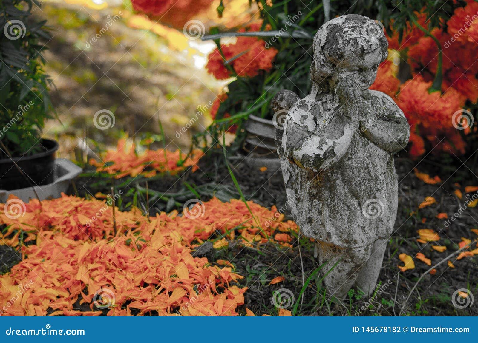?ngel och blommor