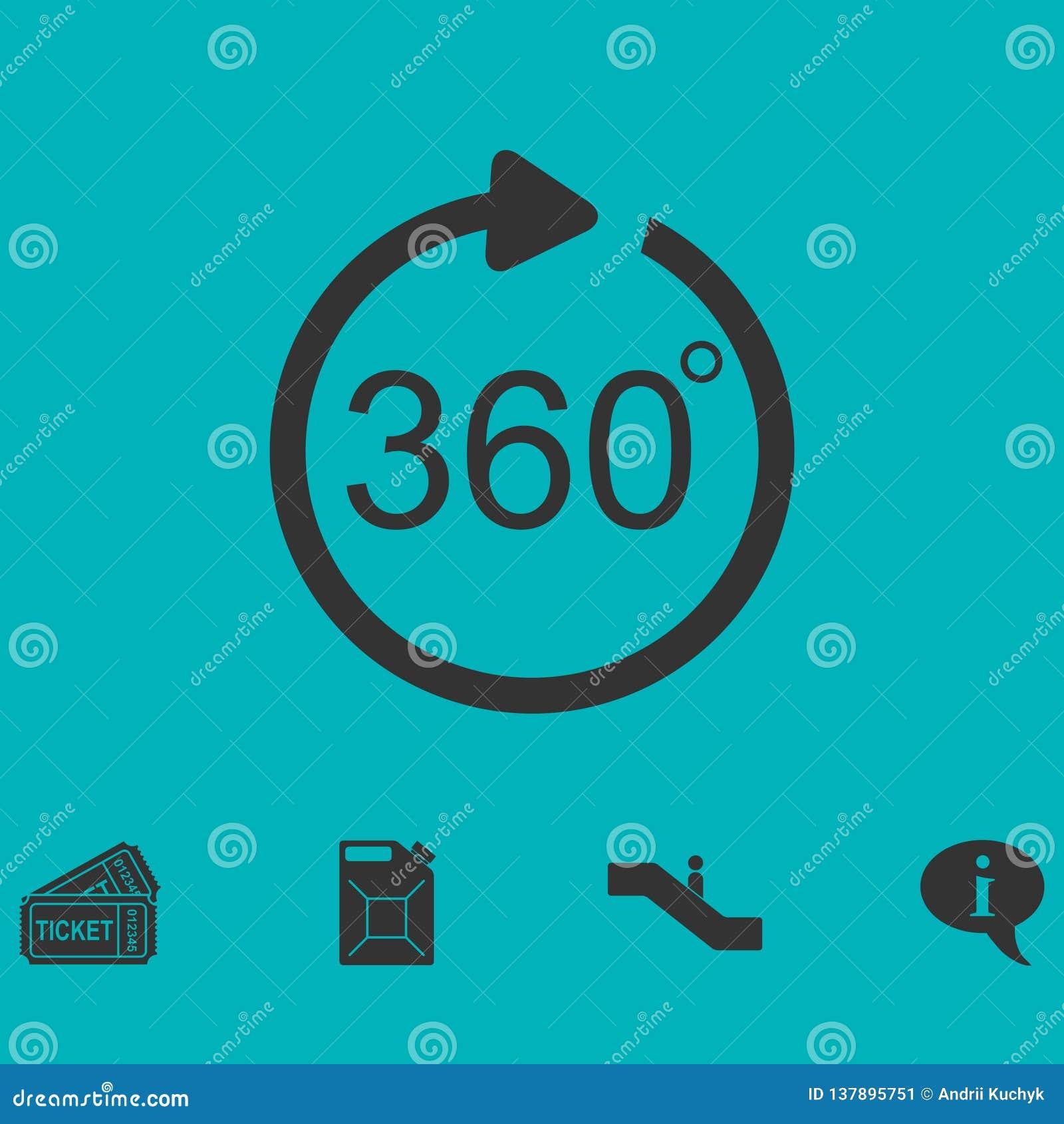 Ângulo 360 graus de ícone horizontalmente