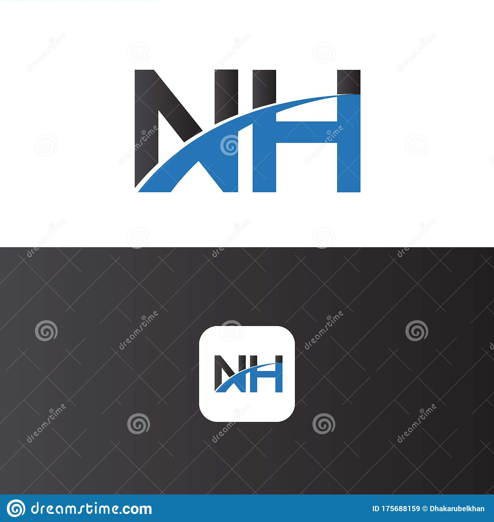 NH Logo Letter Design Template Element Stock Vector