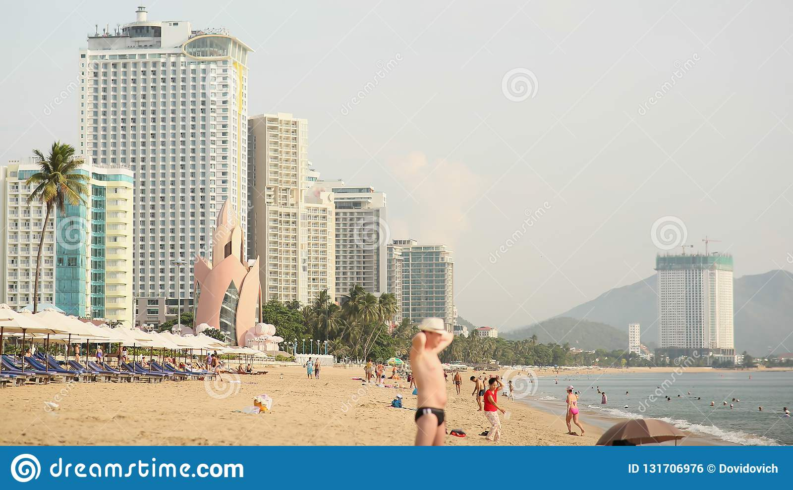 NNHA TRANG, VIETNAM - OCTOBER 1, 2016: Nha Trang beach with many vacationing tourists. Vietnam. Timelapse.
