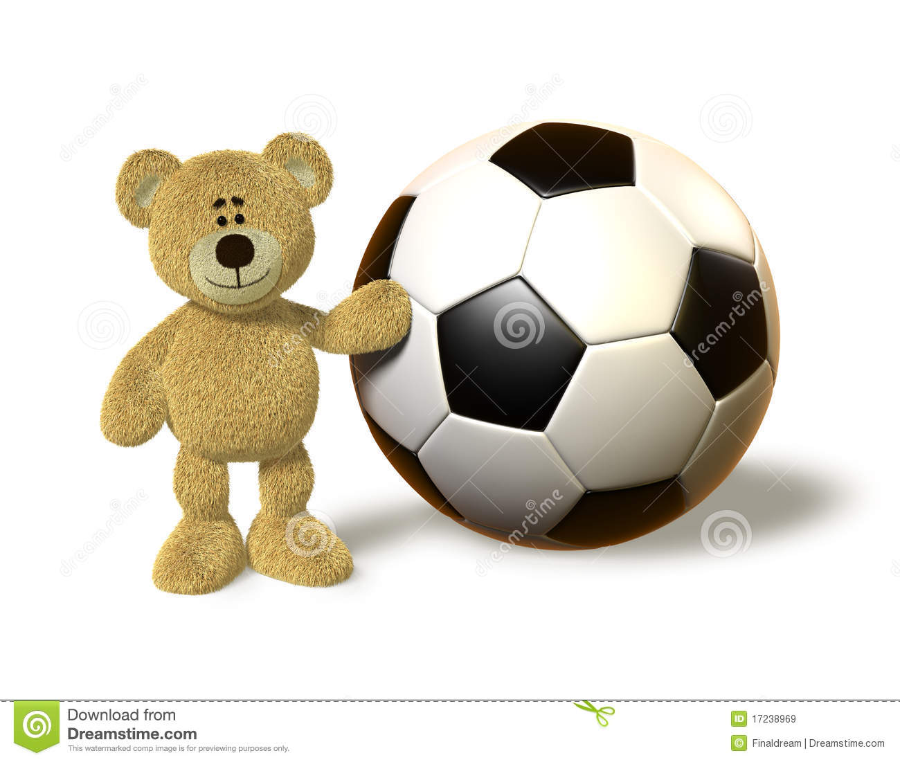 Nhi Bear Next To A Huge Soccer Ball Royalty Free Stock Images - Image ...