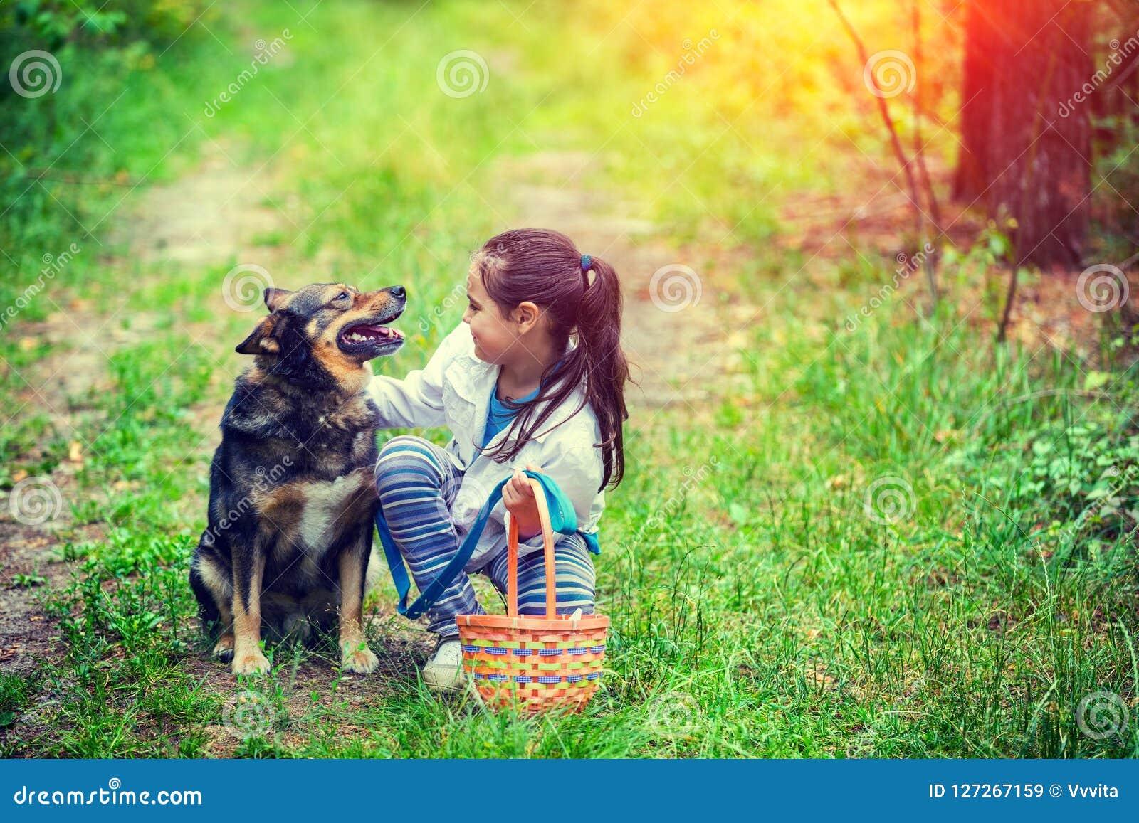 Niña con la cesta de la comida campestre que se sienta con el perro en la hierba en el bosque