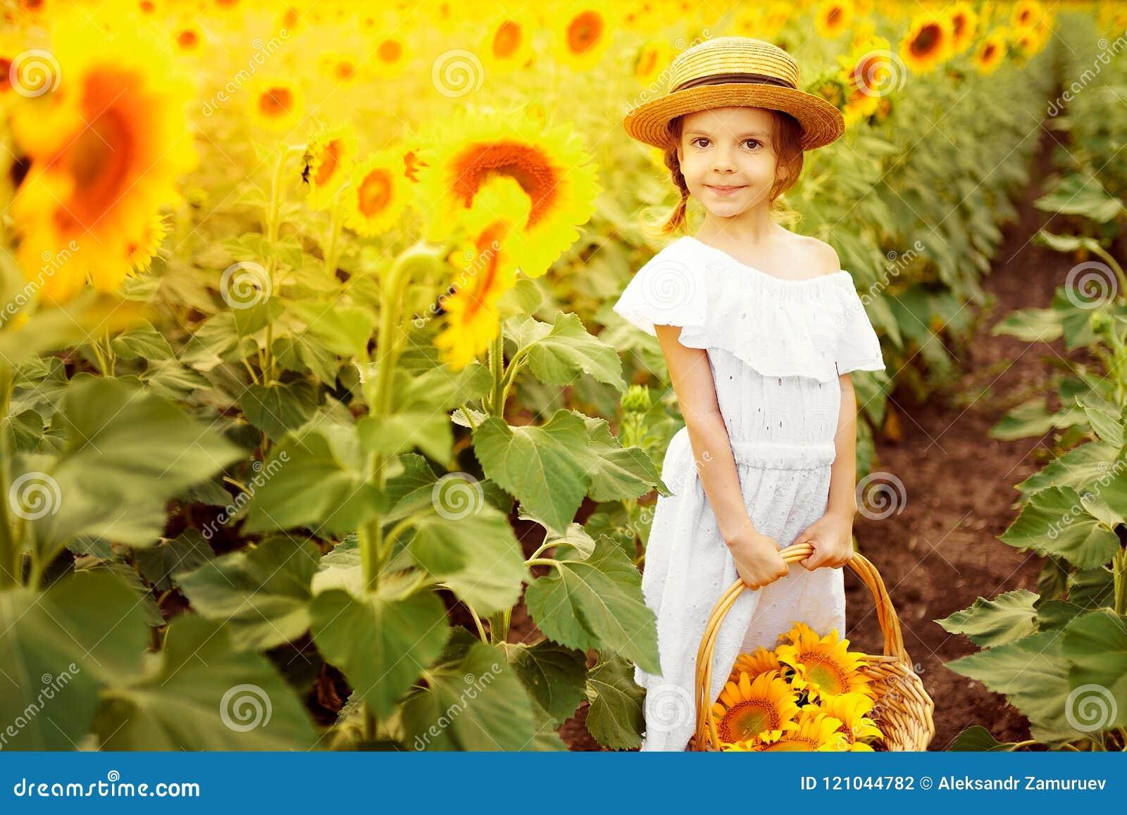 Muchacha feliz del niño del retrato en el vestido blanco, sombrero de paja  con una cesta de girasoles sonriendo y mirando la cámara Onfield que juega  ligero ...