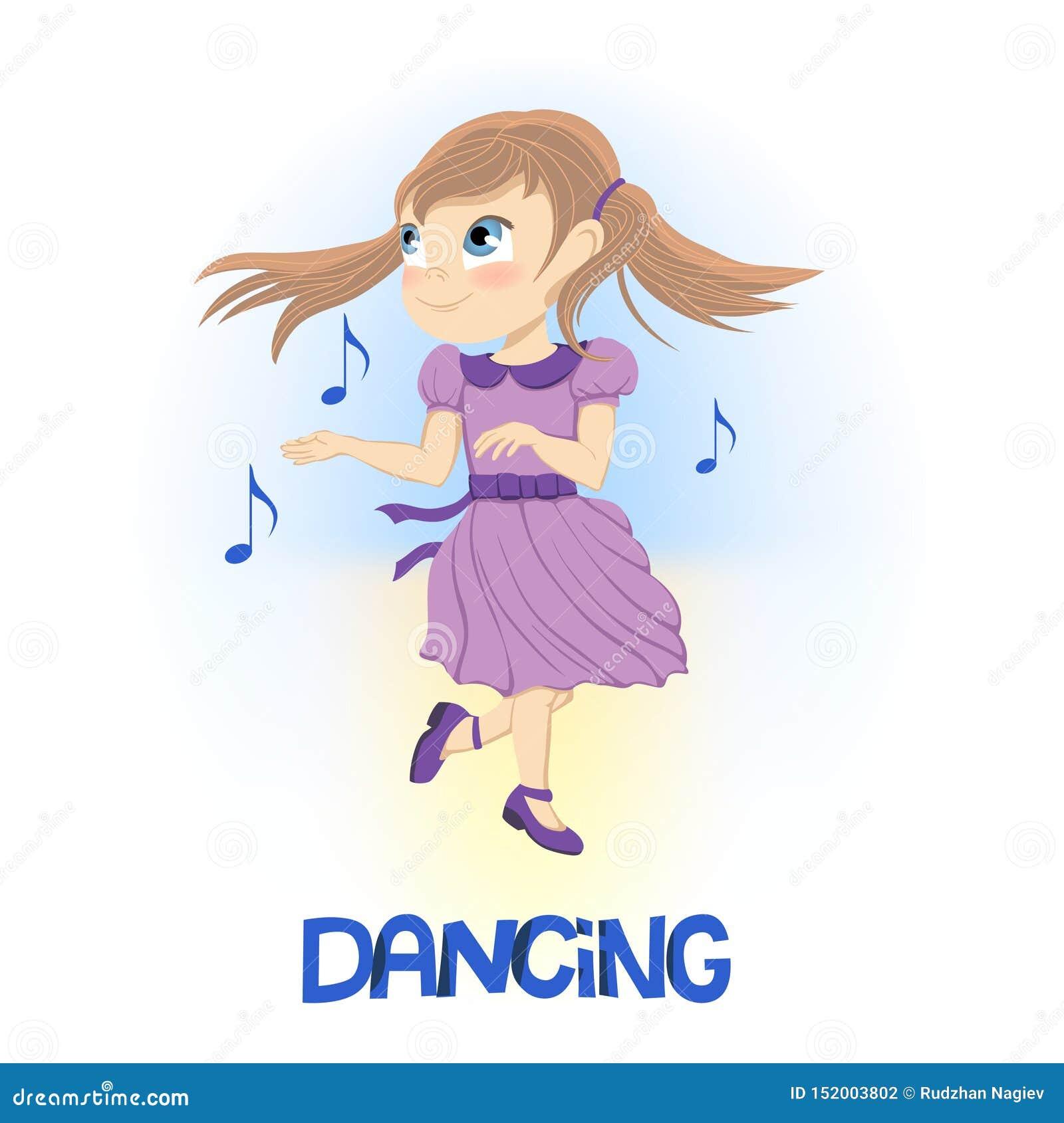 Niña feliz en el baile púrpura del vestido cerca de flotar notas musicales