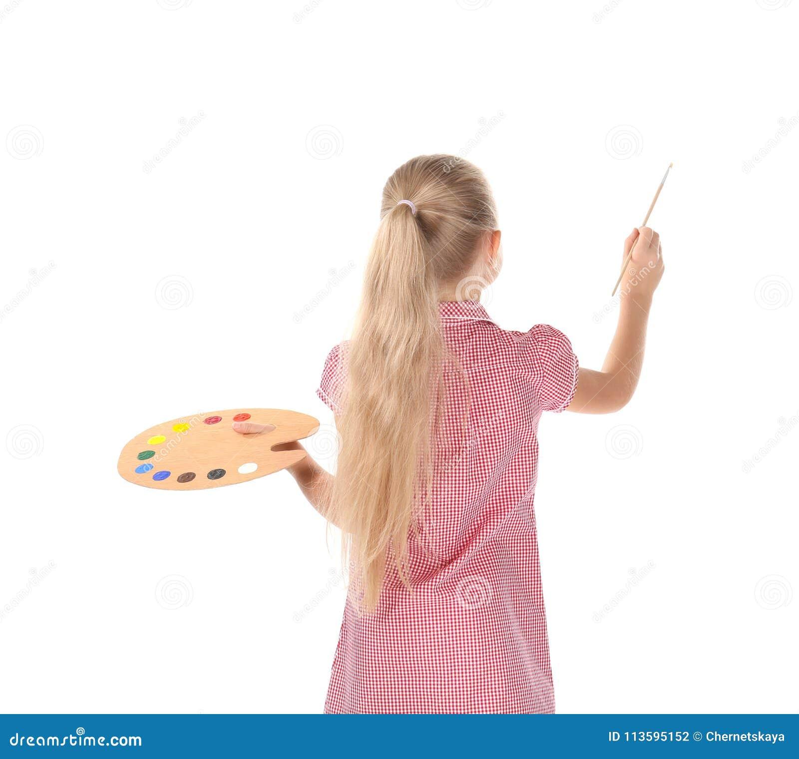 Niña Linda Con La Paleta Y Cepillo Para Pintar Foto De