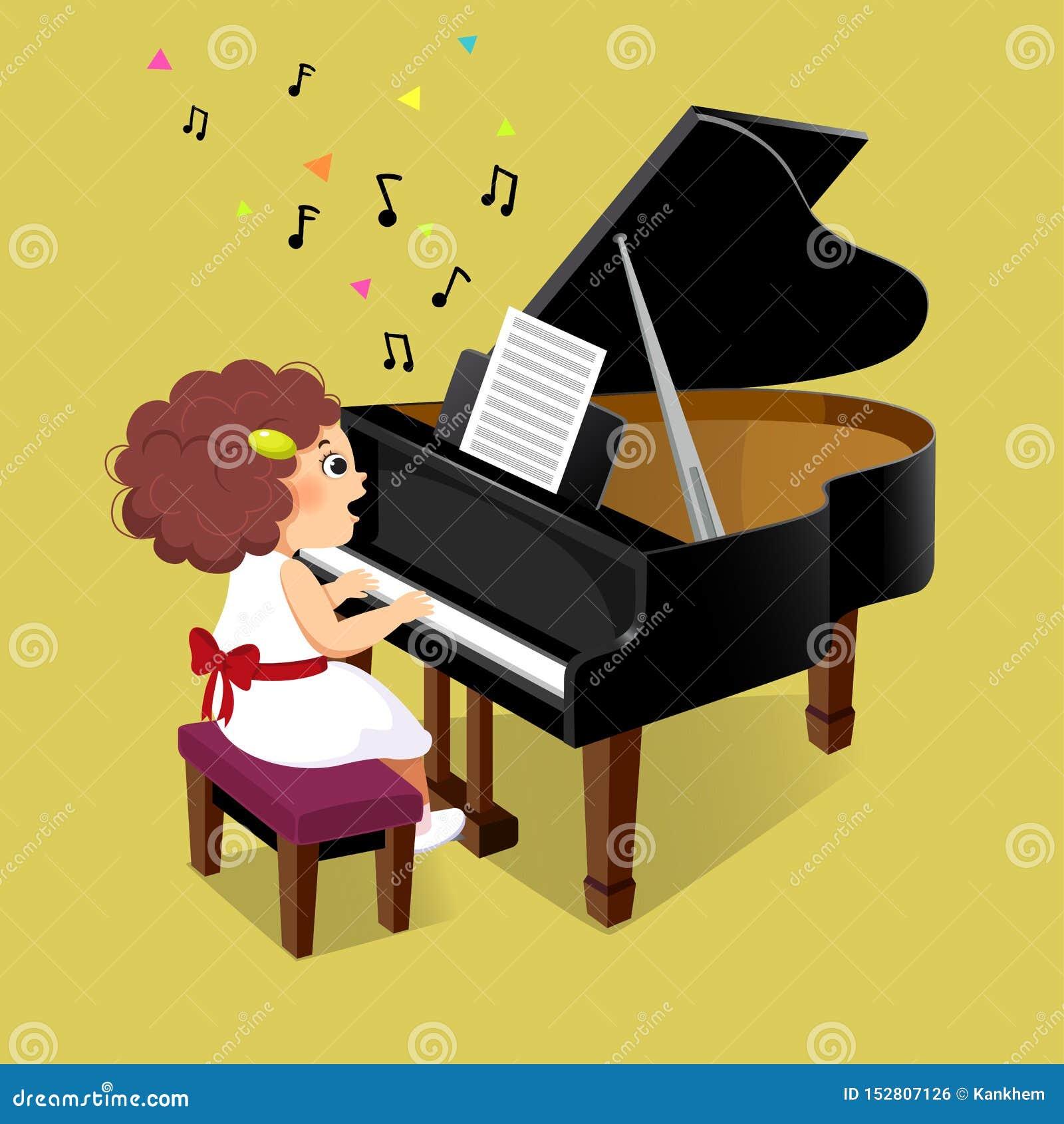 Niña linda que juega el piano de cola en fondo amarillo