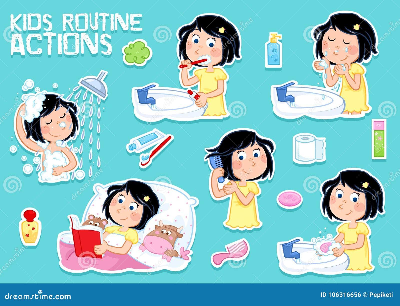 Niña preciosa e higiene - rutina diaria - sistema de seis ejemplos del clipart