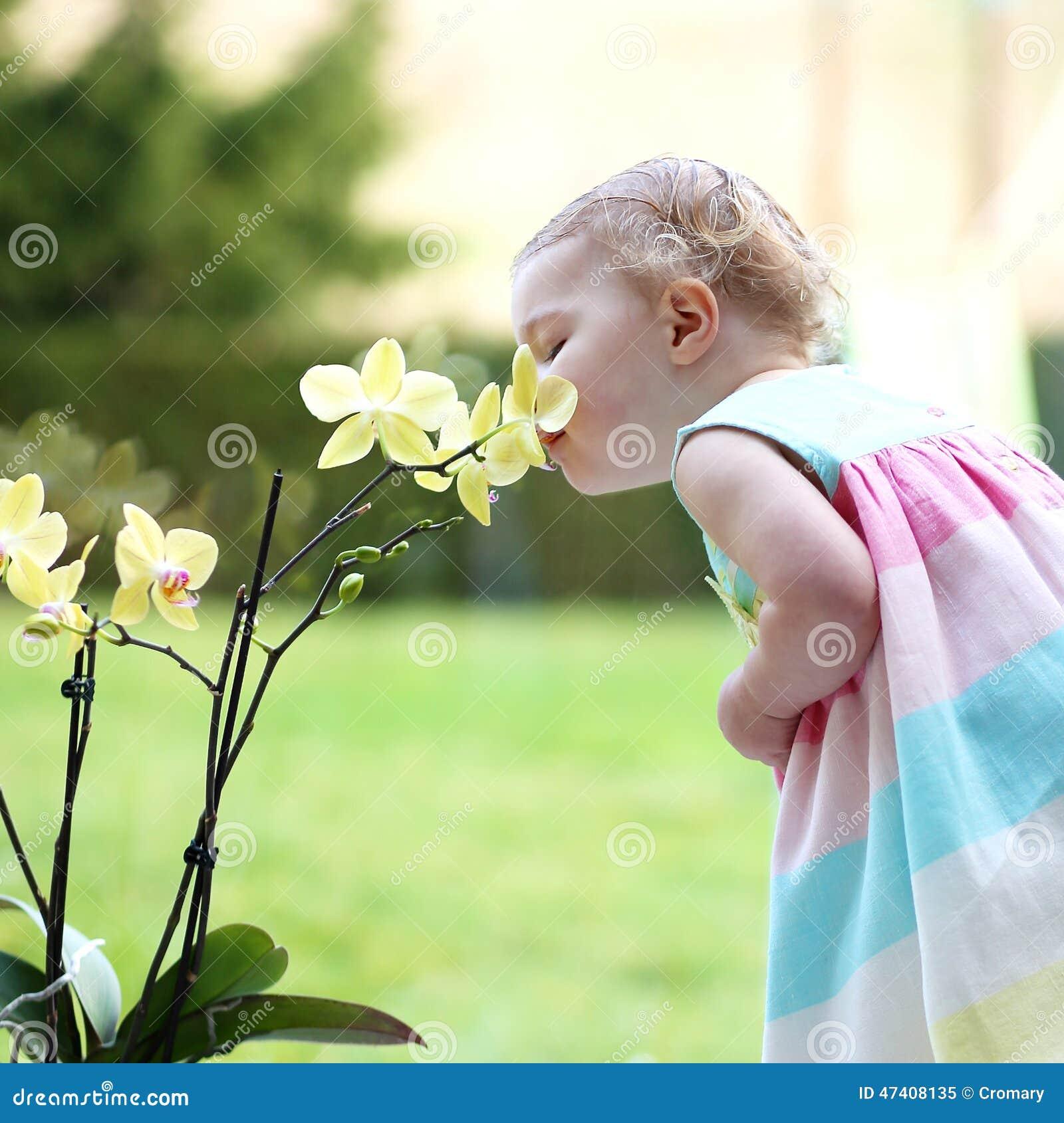 Niña que huele las flores hermosas