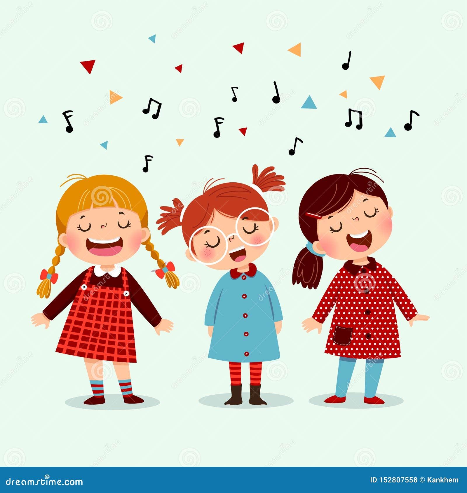 Niña tres que canta una canción en fondo azul Tres niños felices que cantan junto