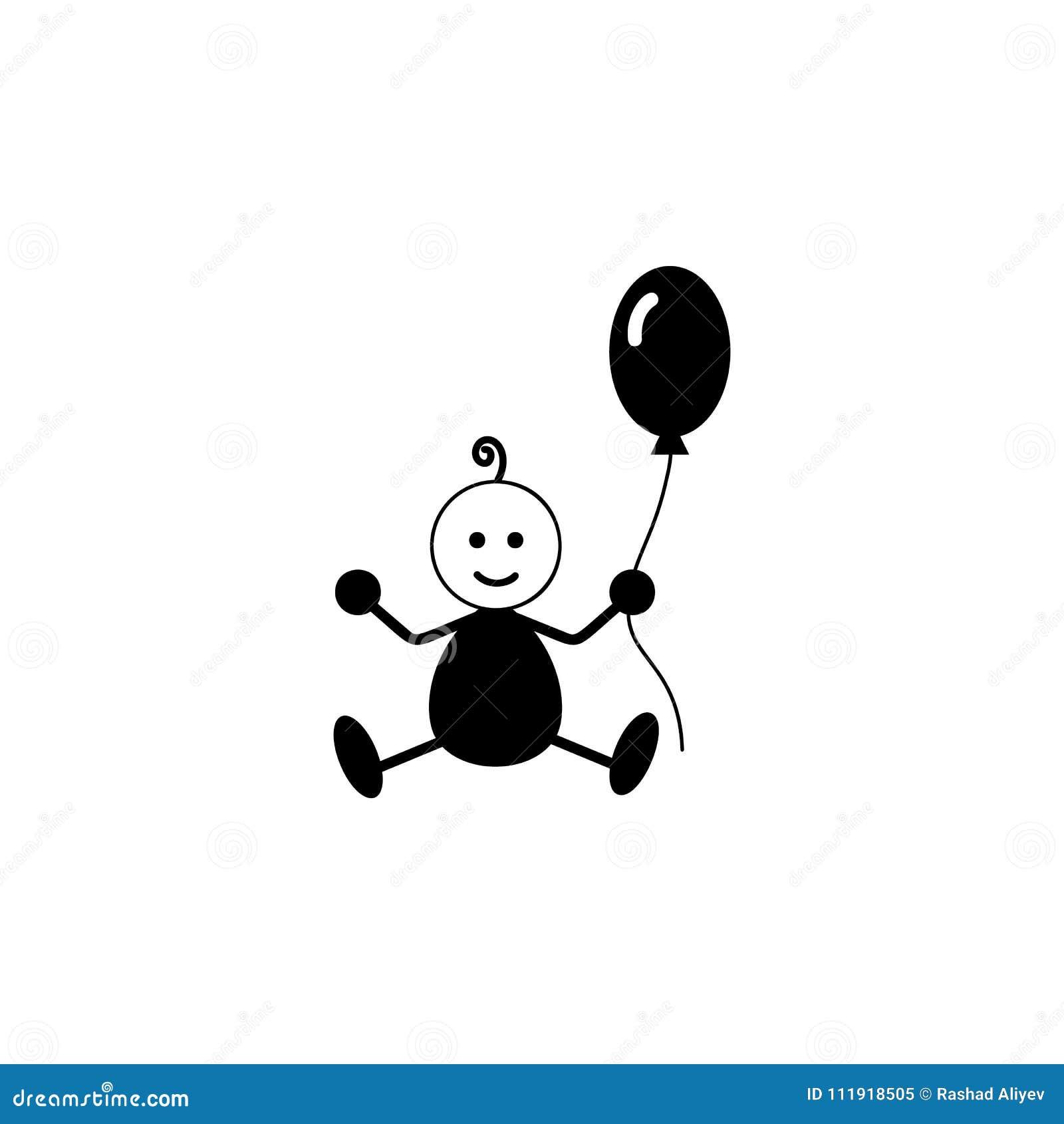 Niño con un icono de la bola Elemento del icono del bebé Diseño gráfico de  la aa38b9e8e660