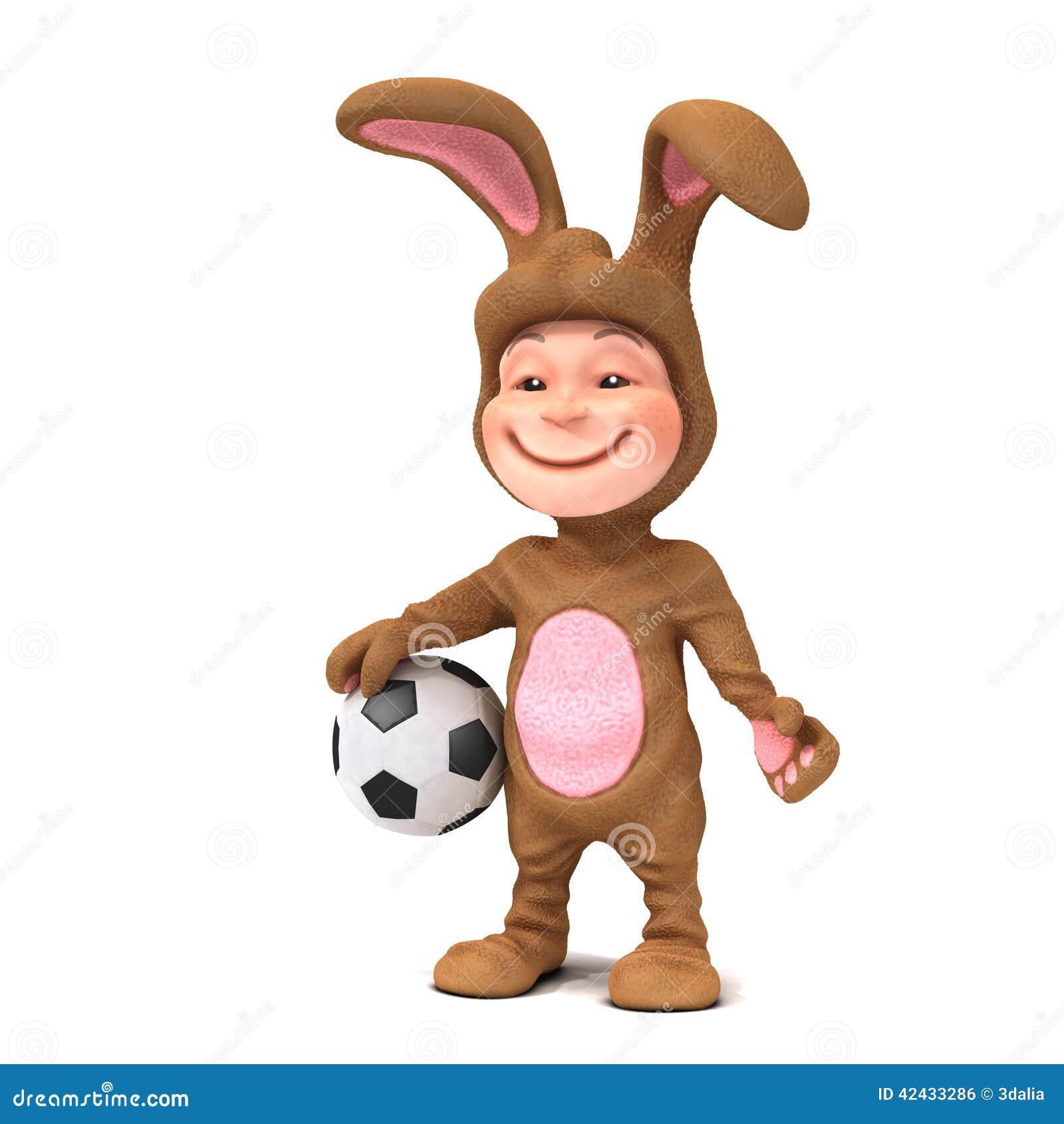 Niño 3d en el traje del conejito que sostiene un balón de fútbol