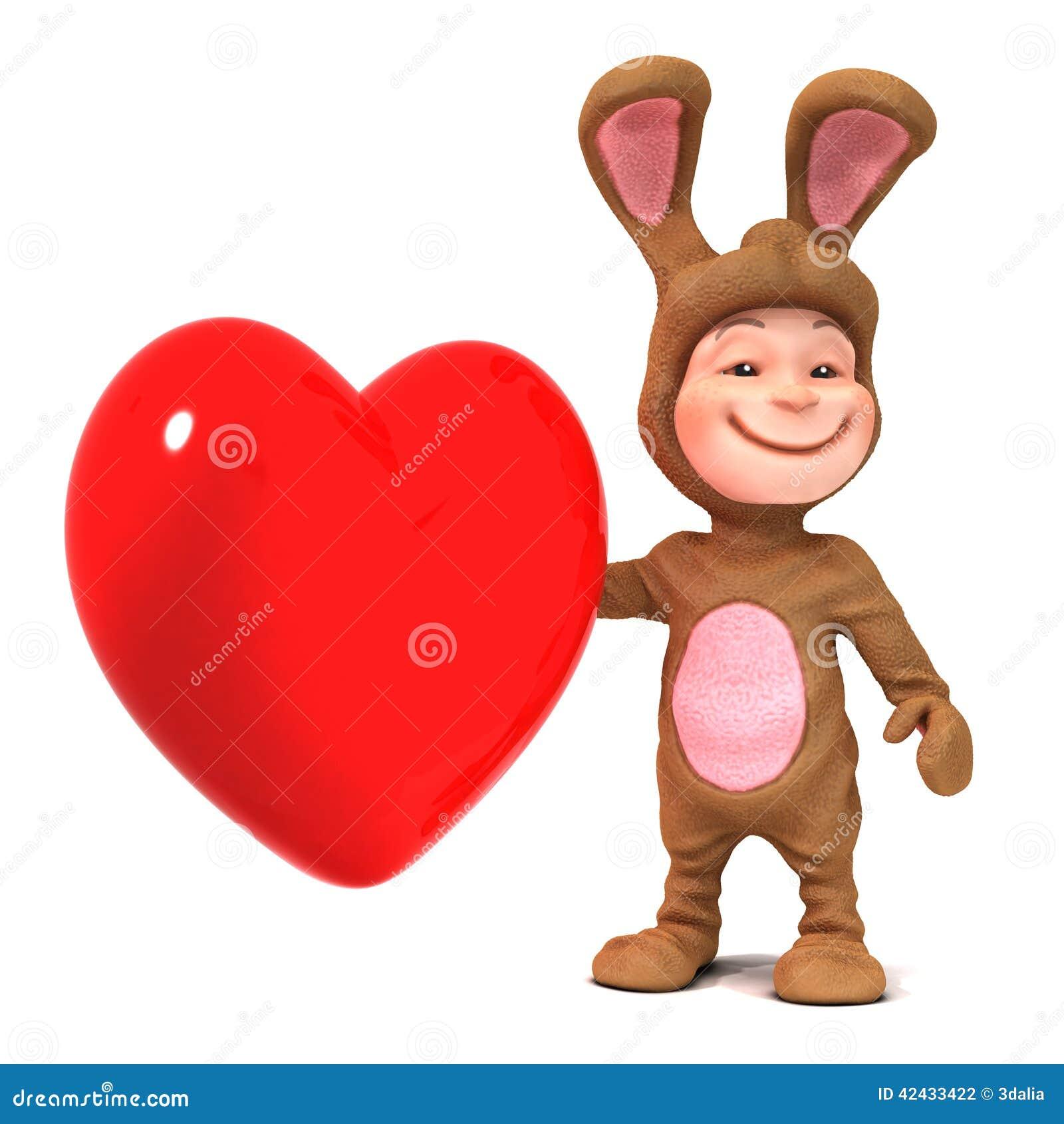 Niño 3d en traje del conejito con el corazón rojo