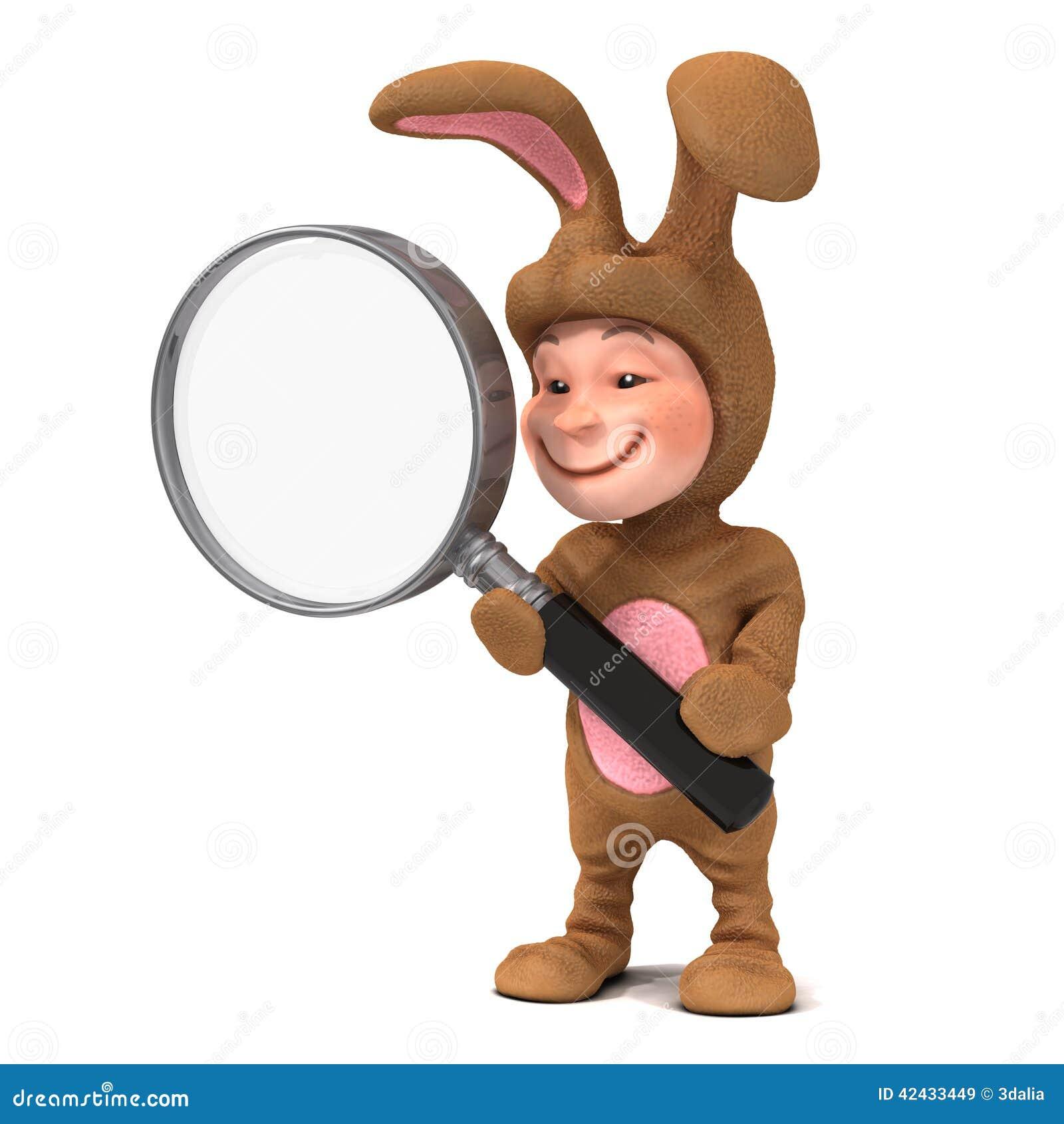 Niño 3d en traje del conejito con la lupa