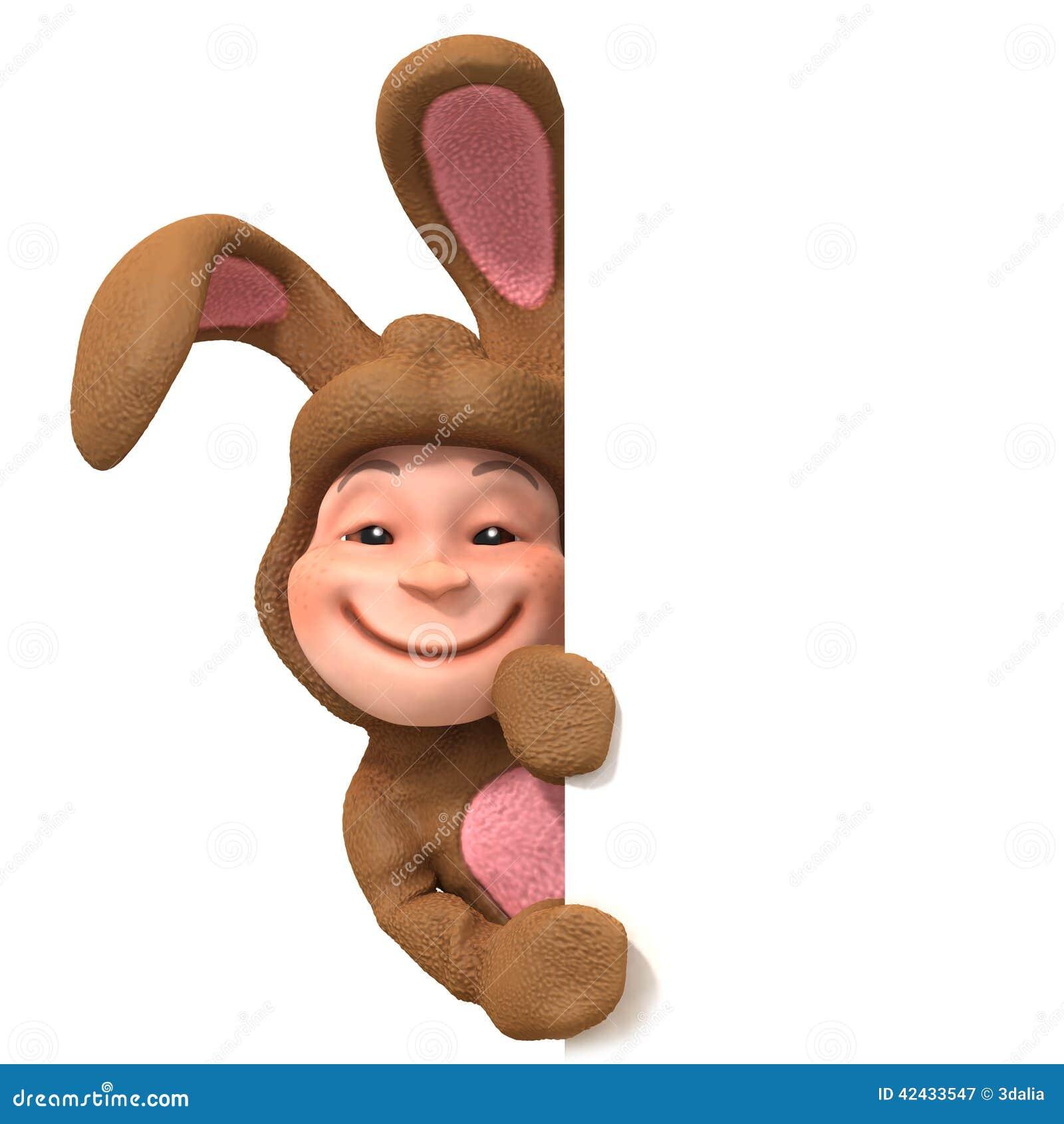 Niño 3d en traje del conejito detrás del espacio en blanco
