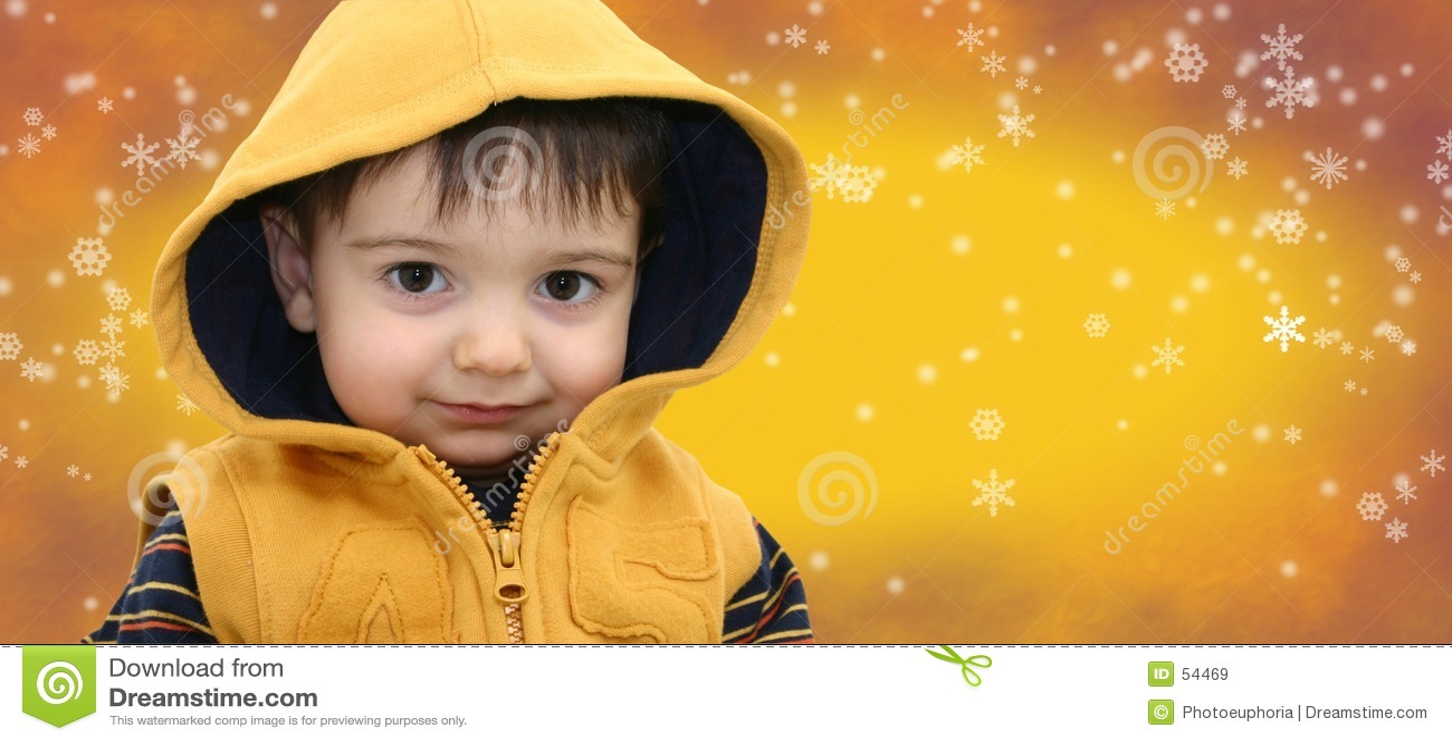 Niño del muchacho del invierno en fondo amarillo del copo de nieve