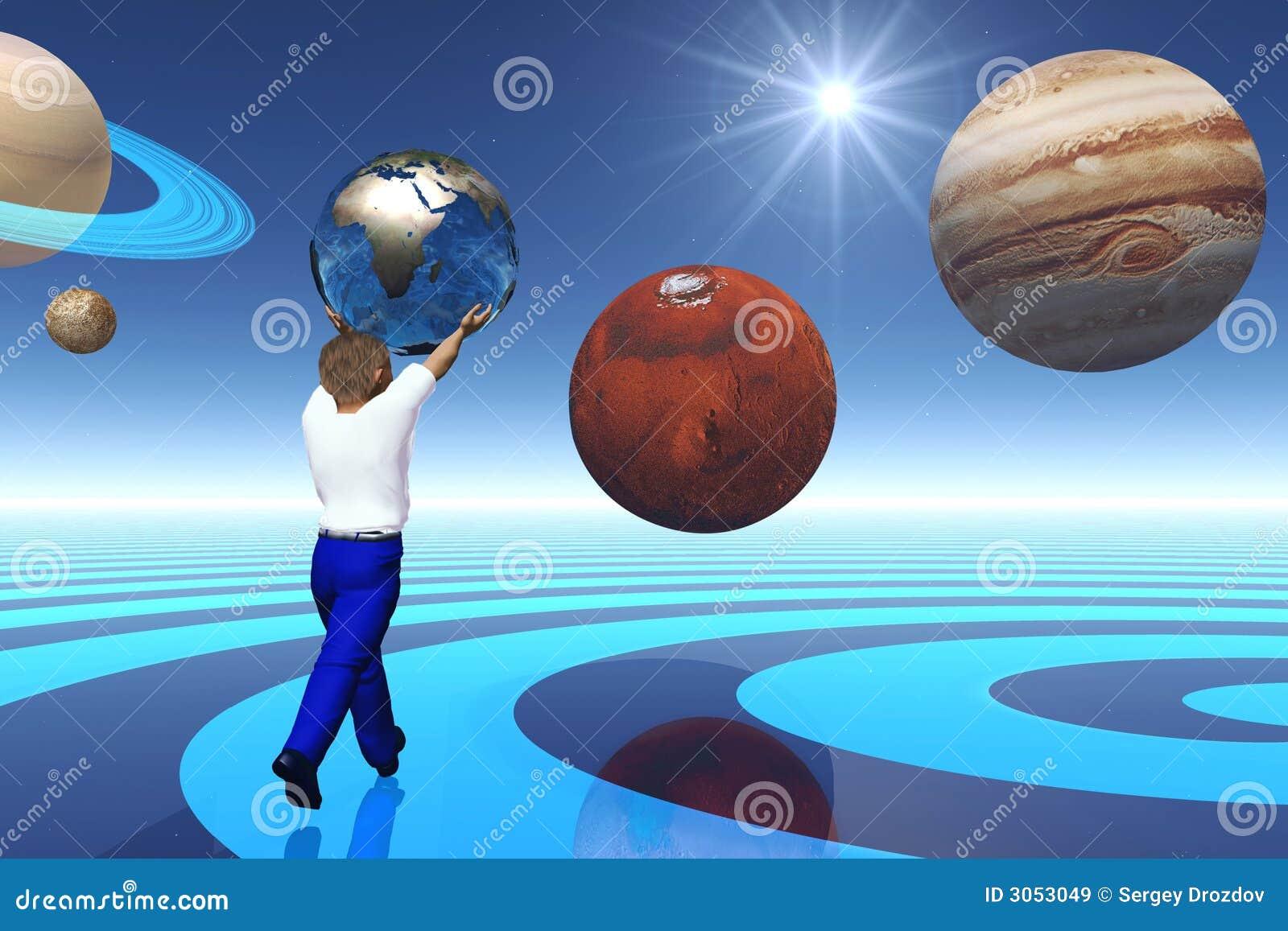 Niño entre los planetas