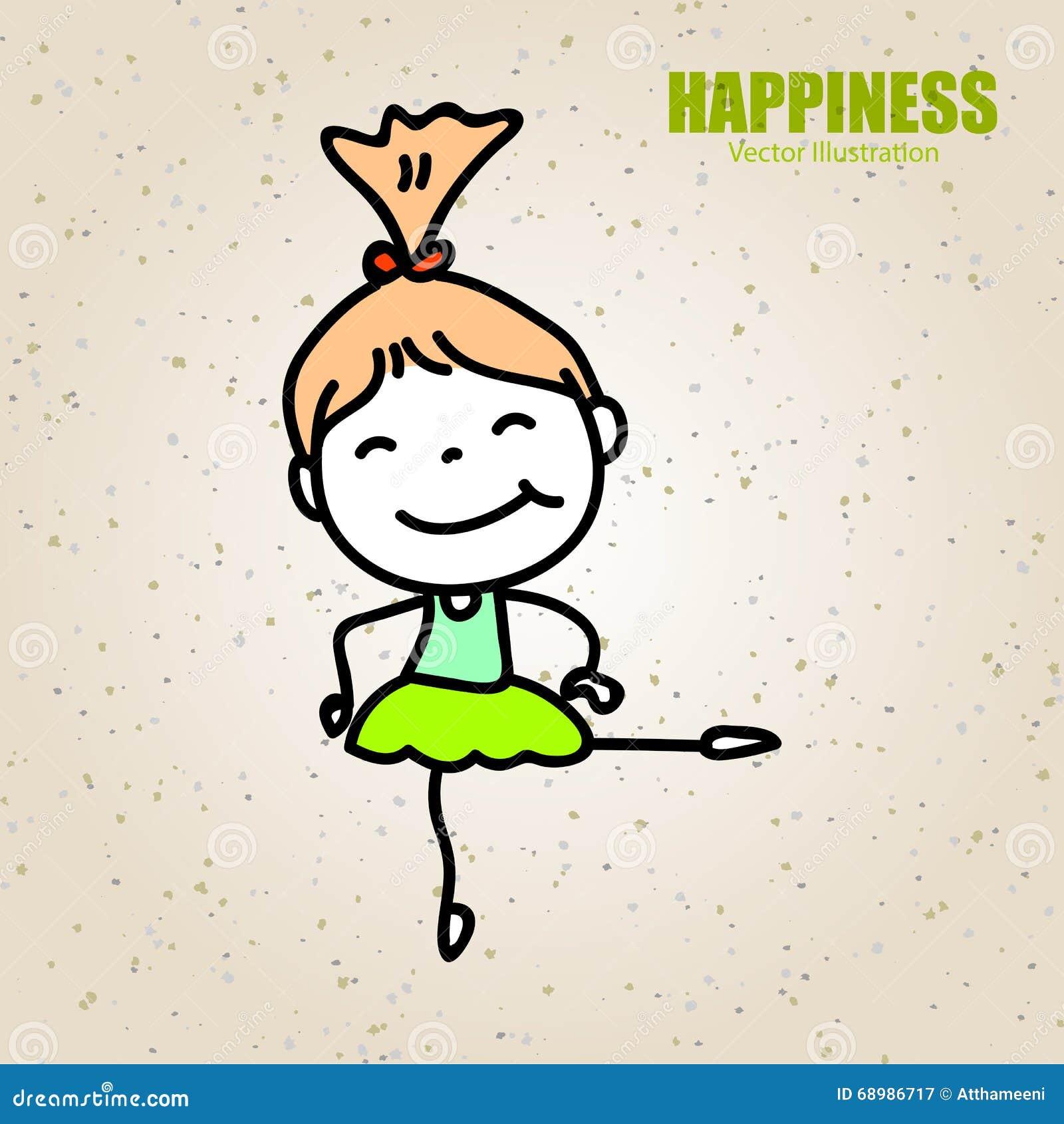 Niño feliz de la historieta del dibujo de la mano