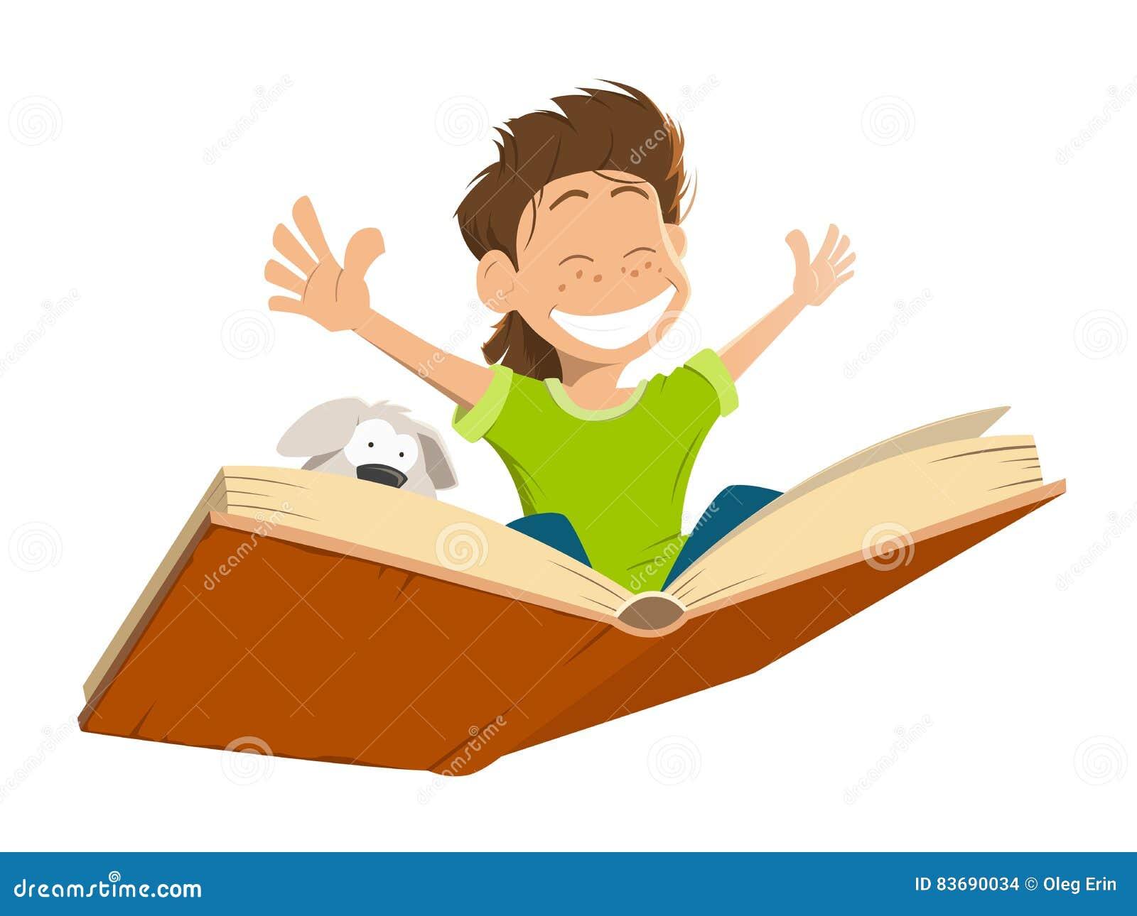 Niño feliz del muchacho del niño de la sonrisa que vuela el perrito lindo del libro grande