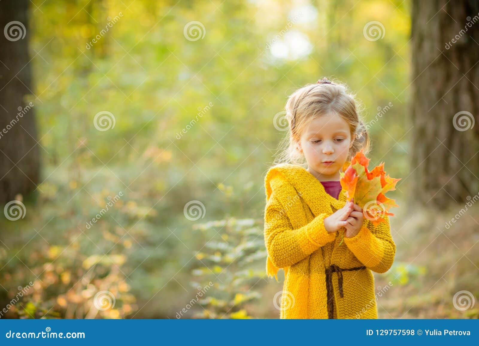 Niño feliz que juega con las hojas de arce amarillas y los sueños al aire libre en parque del otoño bajo rayos del sol Felicidad,