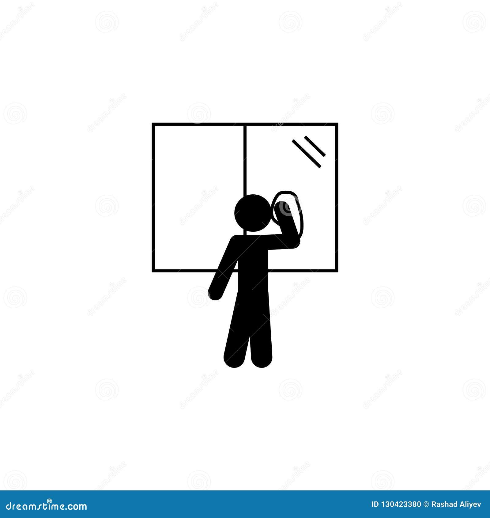 Niño, icono de la ventana Elemento del icono independiente del niño del uno mismo del glyph para los apps móviles del concepto y