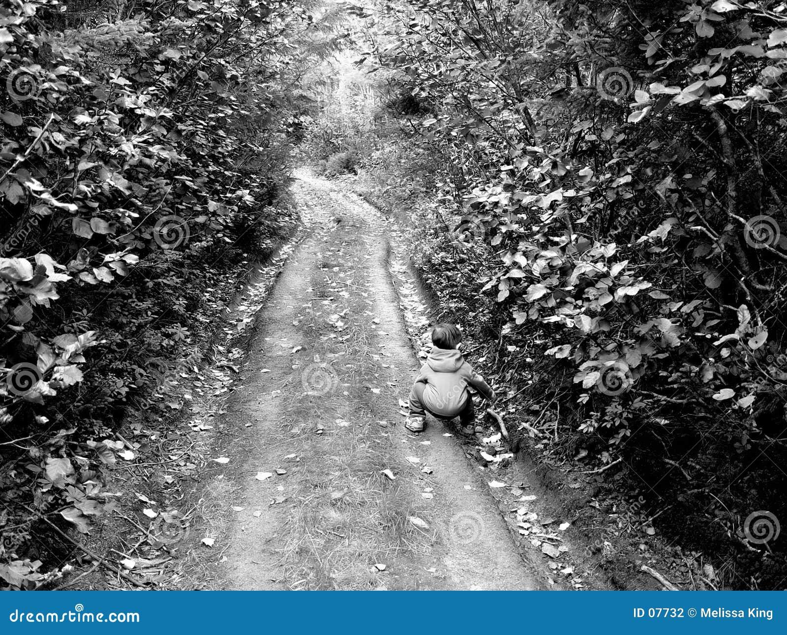 Niño pequeño en un camino viejo