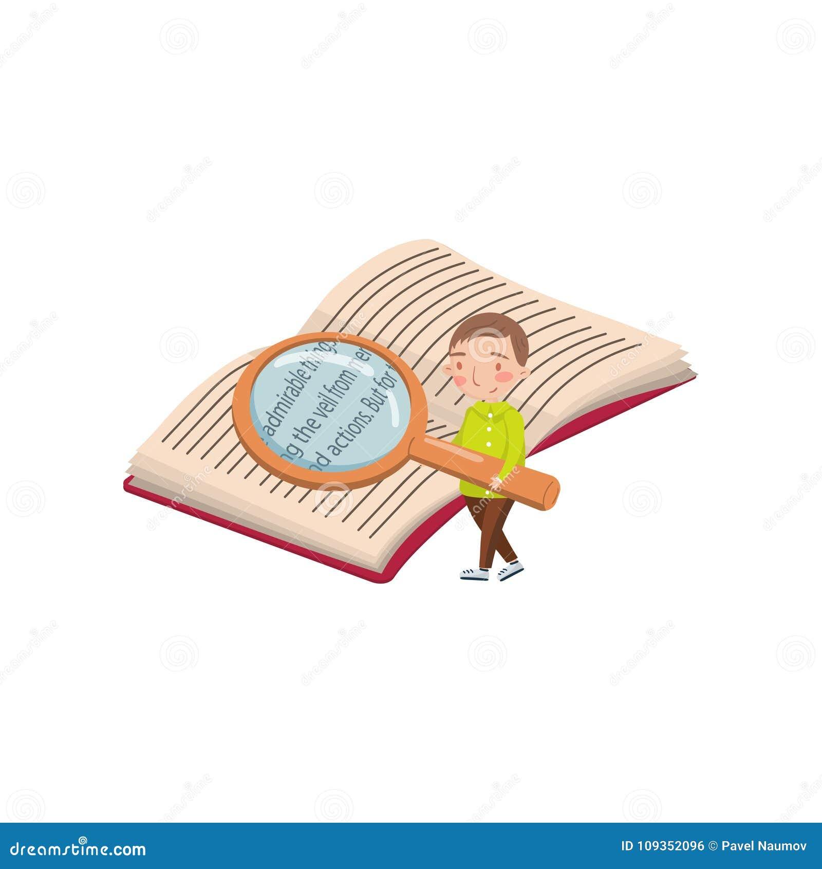 Niño pequeño que lee un libro con una lupa, actividades preescolares y un vector de la historieta de la educación de la niñez tem
