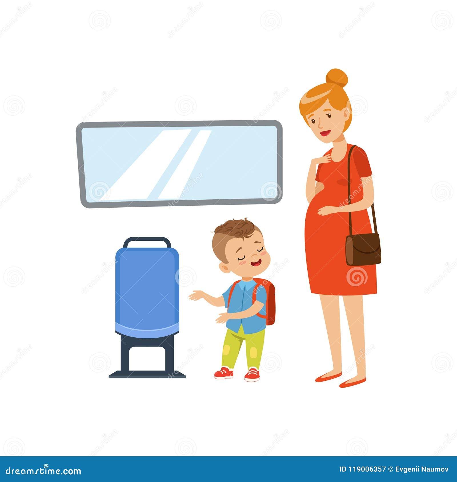 Niño pequeño que lleva a la mujer embarazada en el transporte público, ejemplo del vector del concepto de las buenas maneras de l