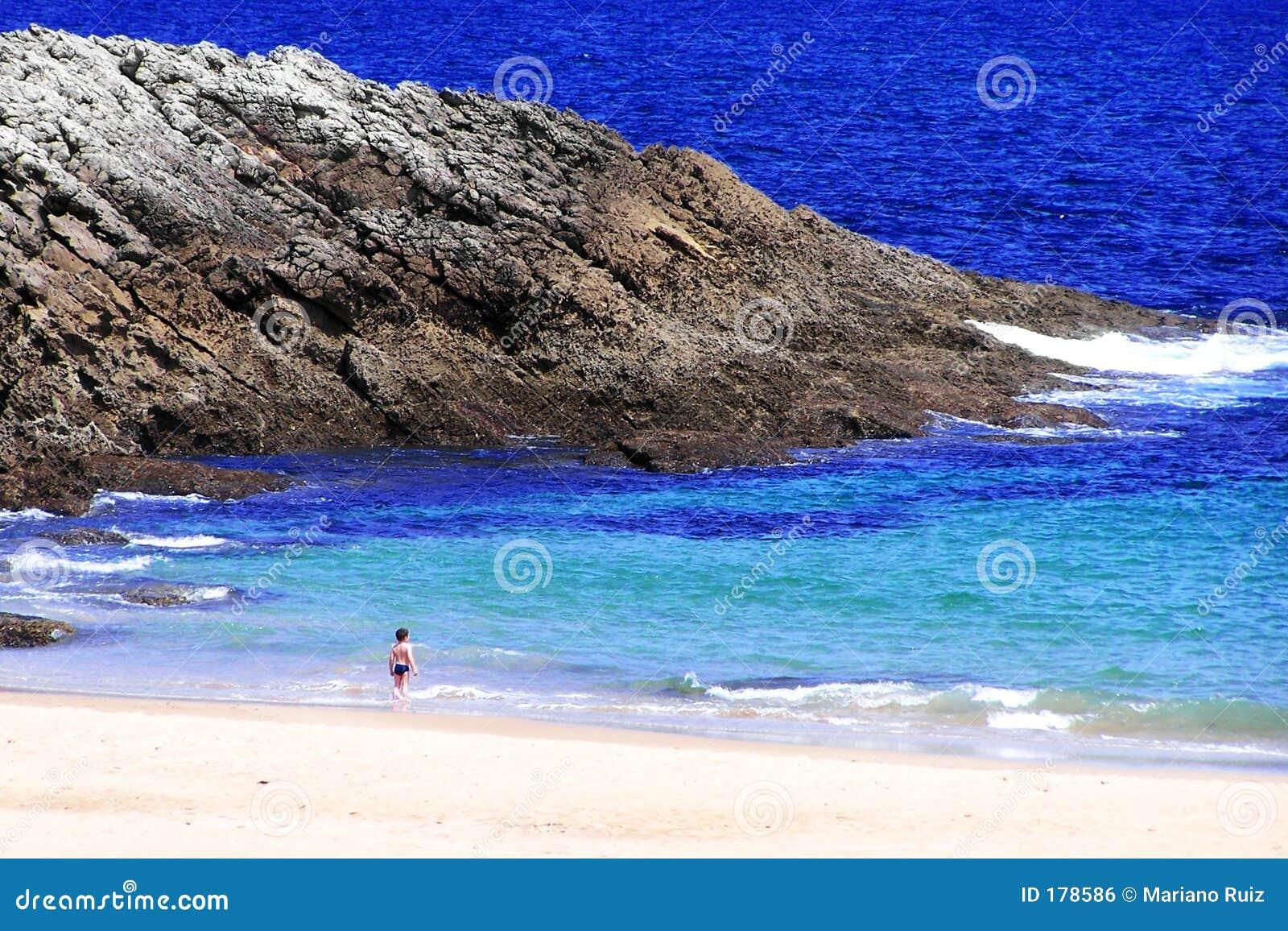 Niño pequeño que mira fijamente el mar