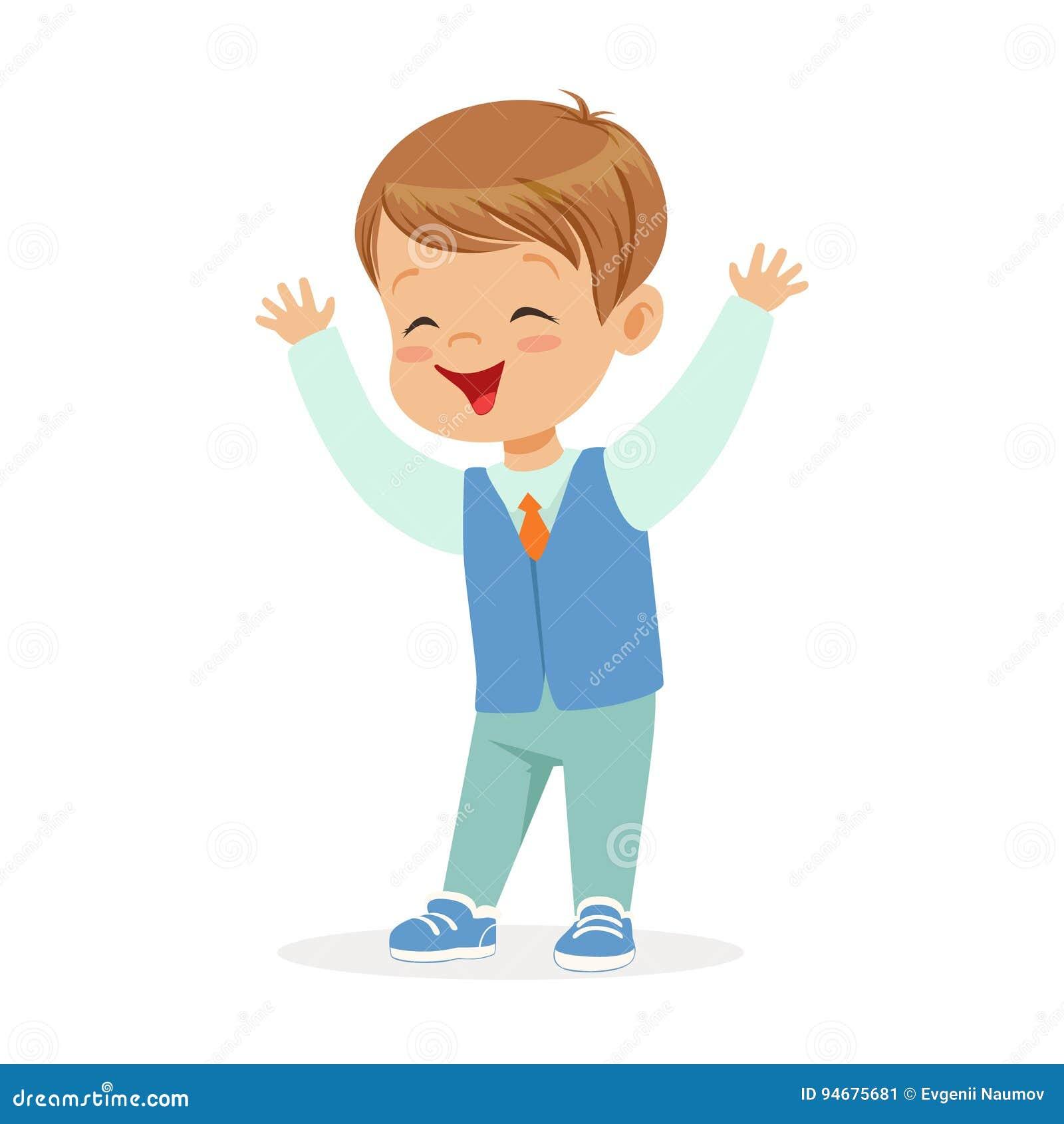 Niño Pequeño Sonriente Feliz En El Ejemplo Colorido Del Vector Del