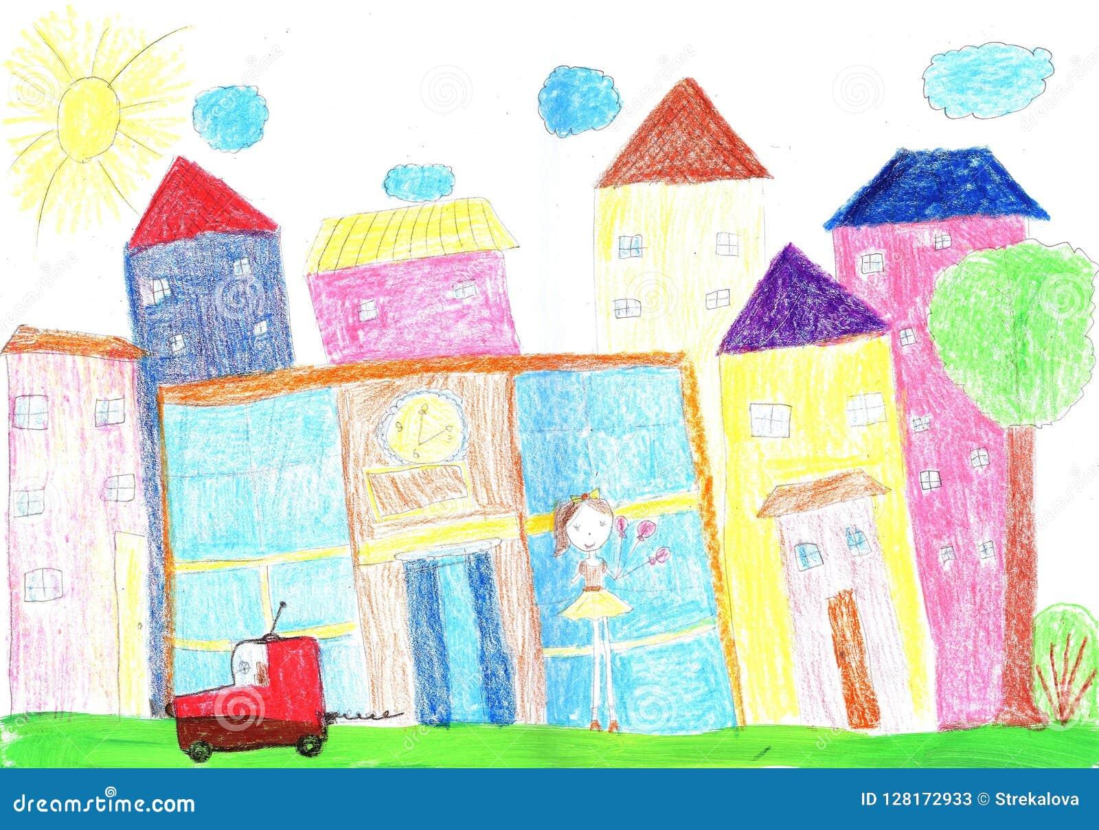 Niño que dibuja a la familia feliz, edificio, coche