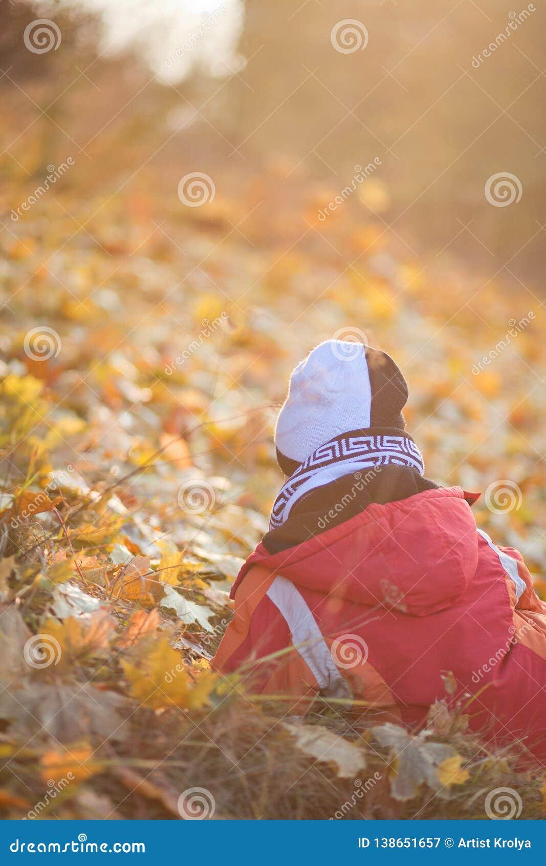Niño que sienta y waithing las hojas amarillas en el parque del otoño