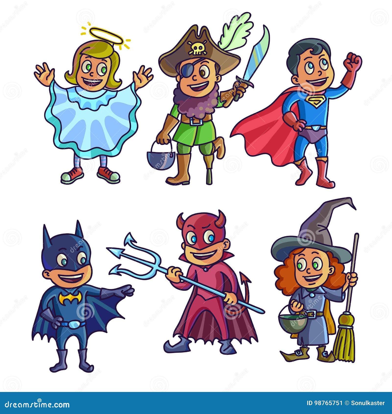 Niños alegres en los ejemplos creativos de los disfraces de Halloween fijados
