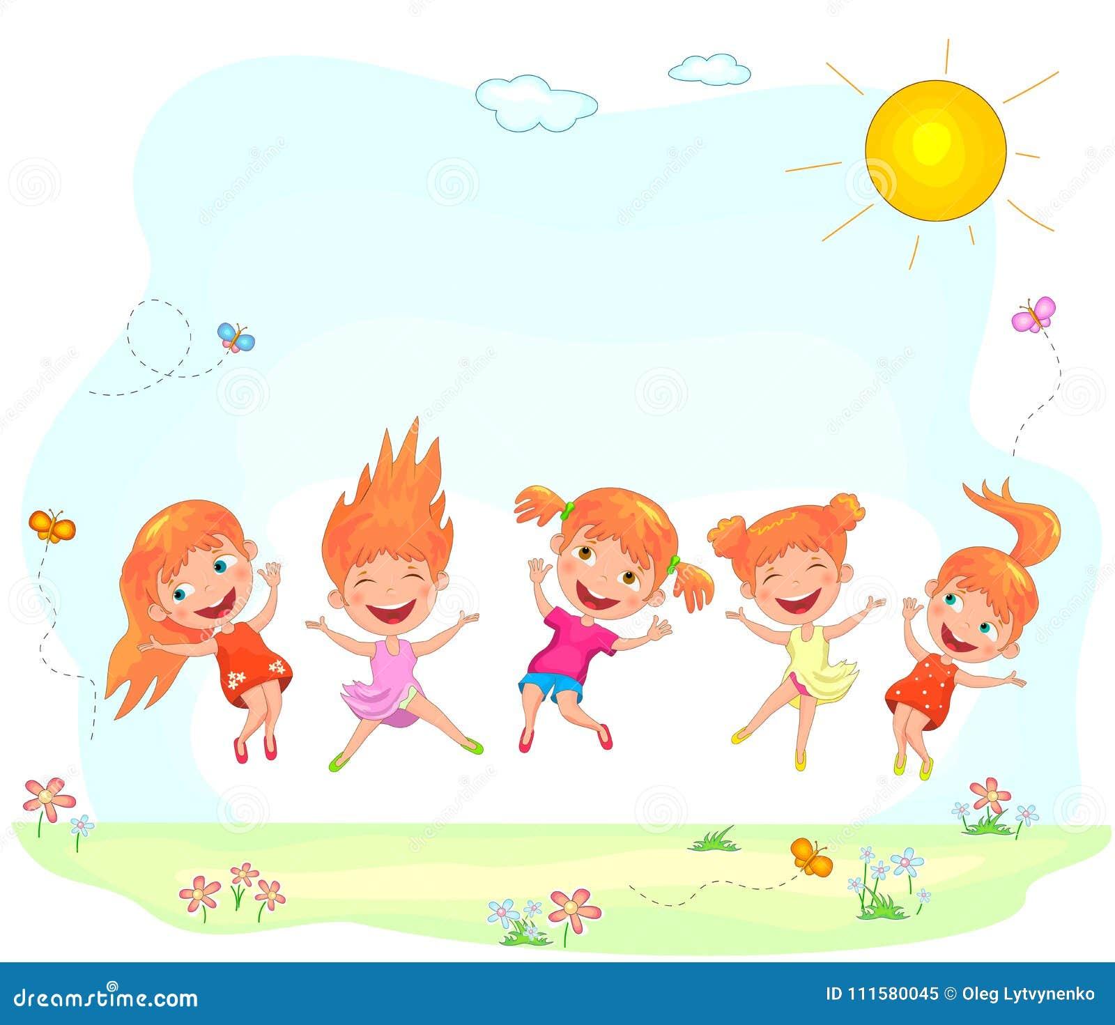 Niños alegres y felices que saltan en la hierba
