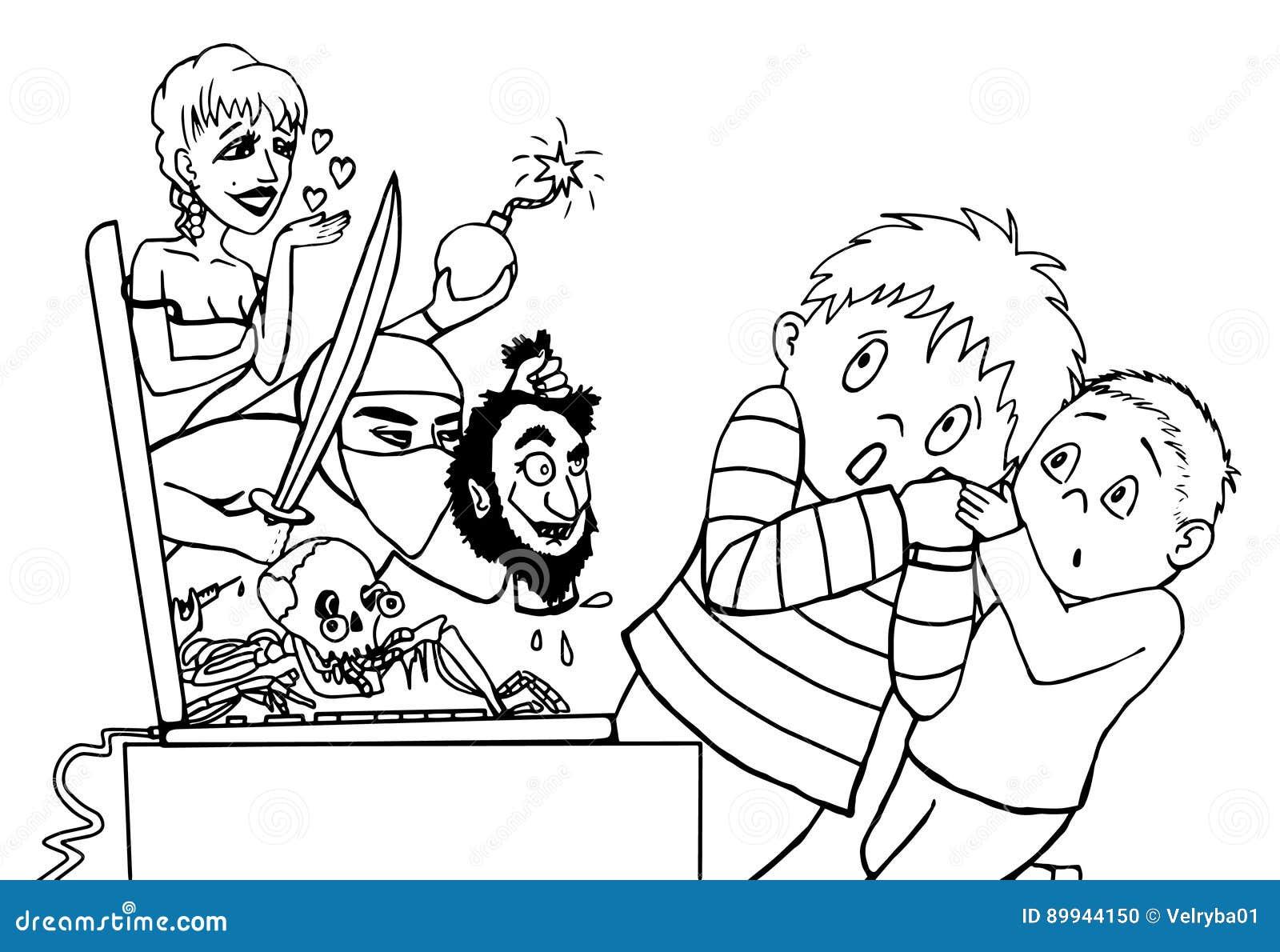 Niños Asustados Por El Lineart De Internet Stock De