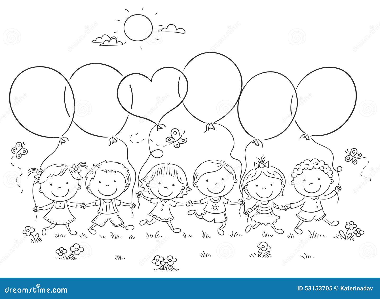 Dibujos Animados De Niños Felices Y Payaso En El Parque: Niños Con El Esquema De Los Globos Ilustración Del
