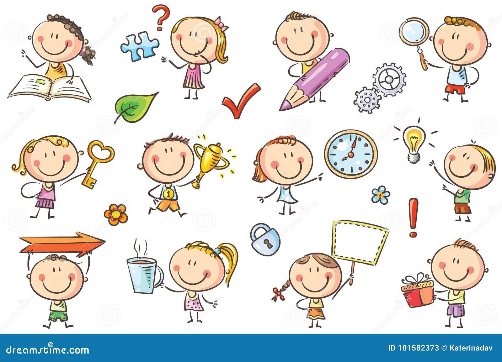 Niños con símbolos