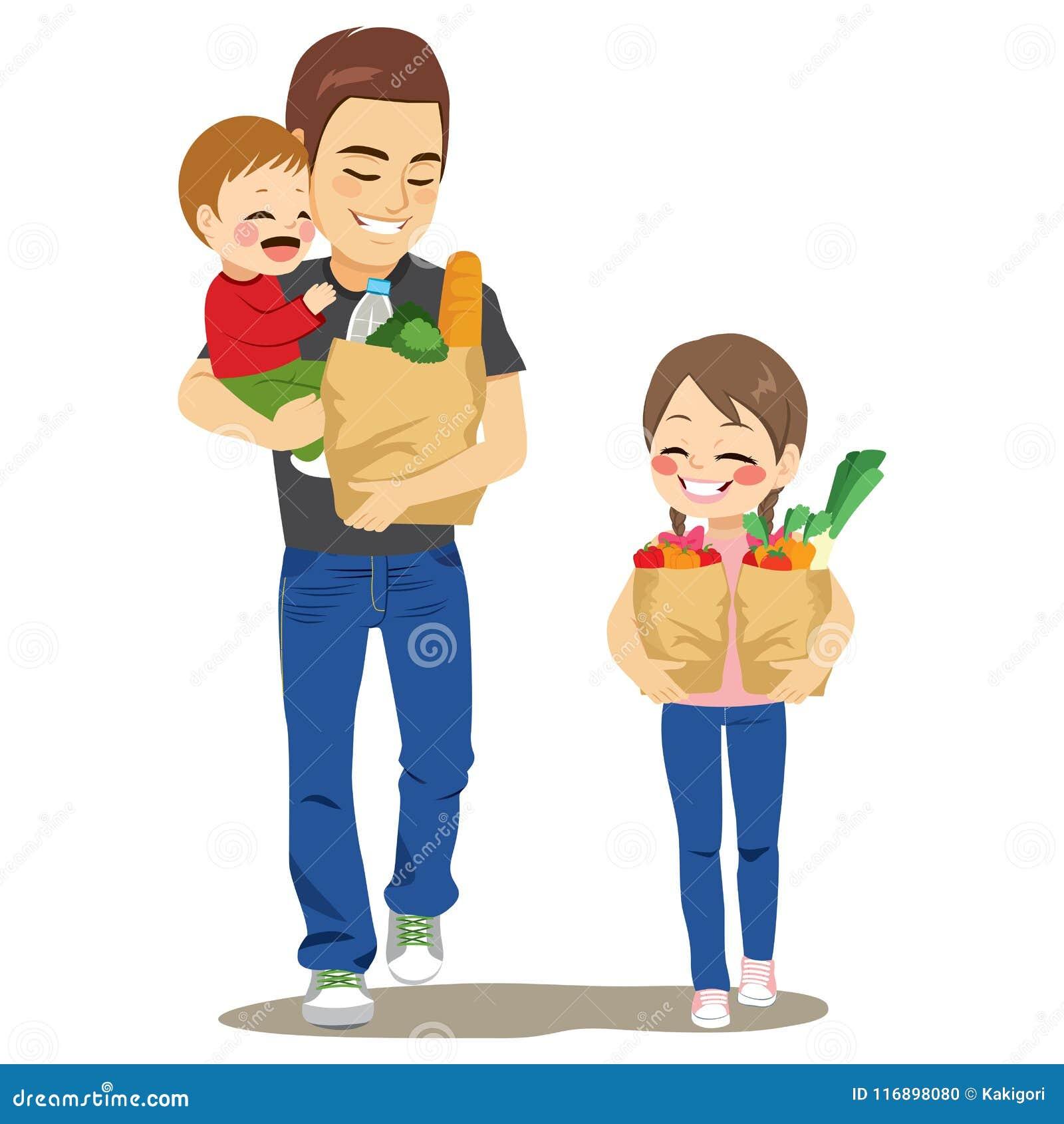 Niños de Grocery Shop With del padre