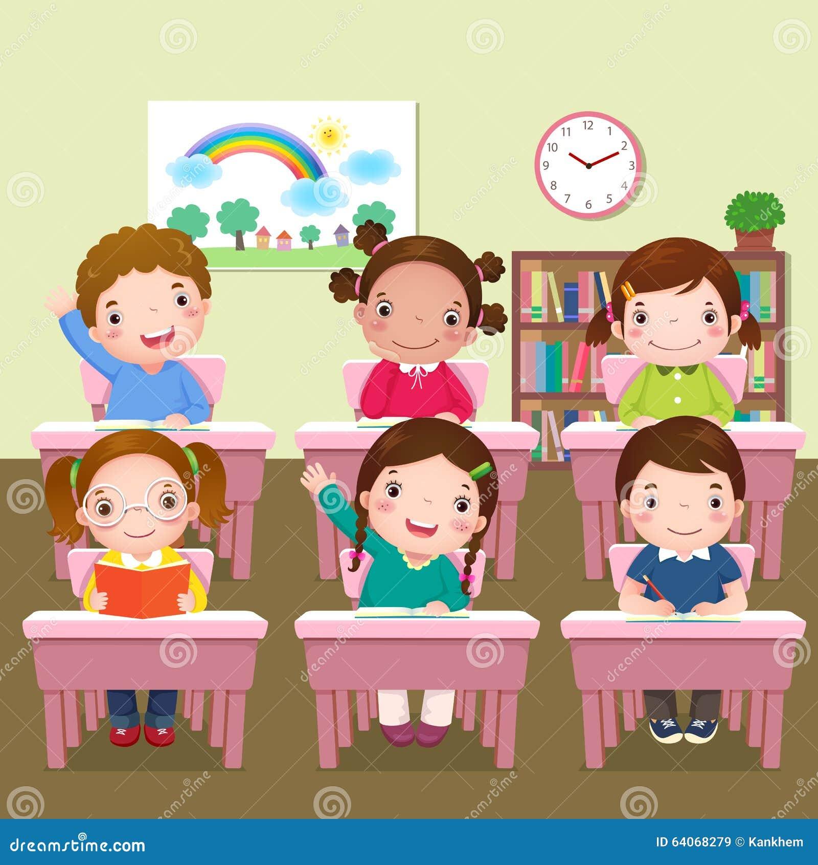 Niños de la escuela que estudian en sala de clase