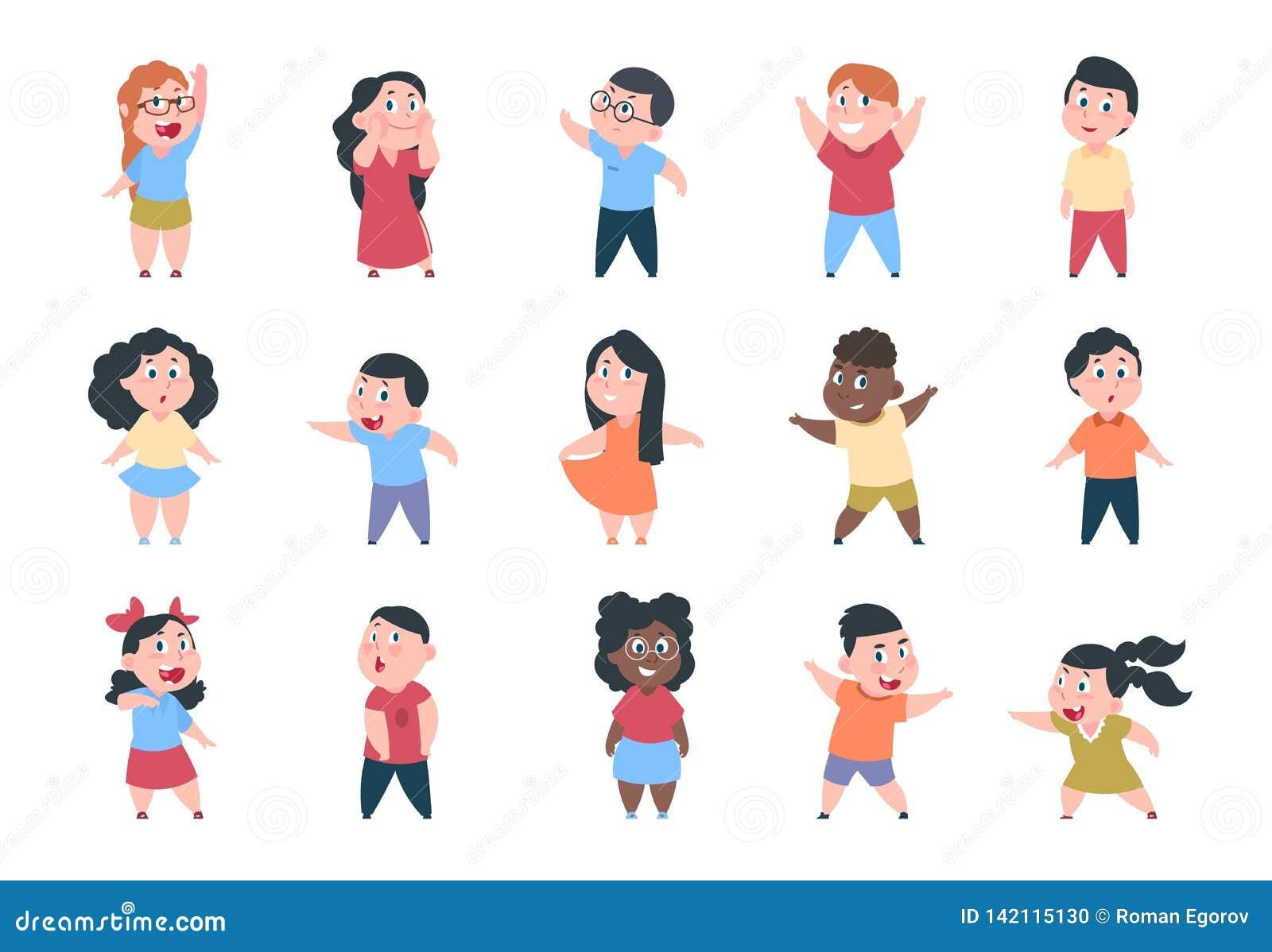 Niños de la historieta Caracteres de la escuela del muchacho y de la muchacha, pequeño niño feliz, grupo de la escuela primaria N