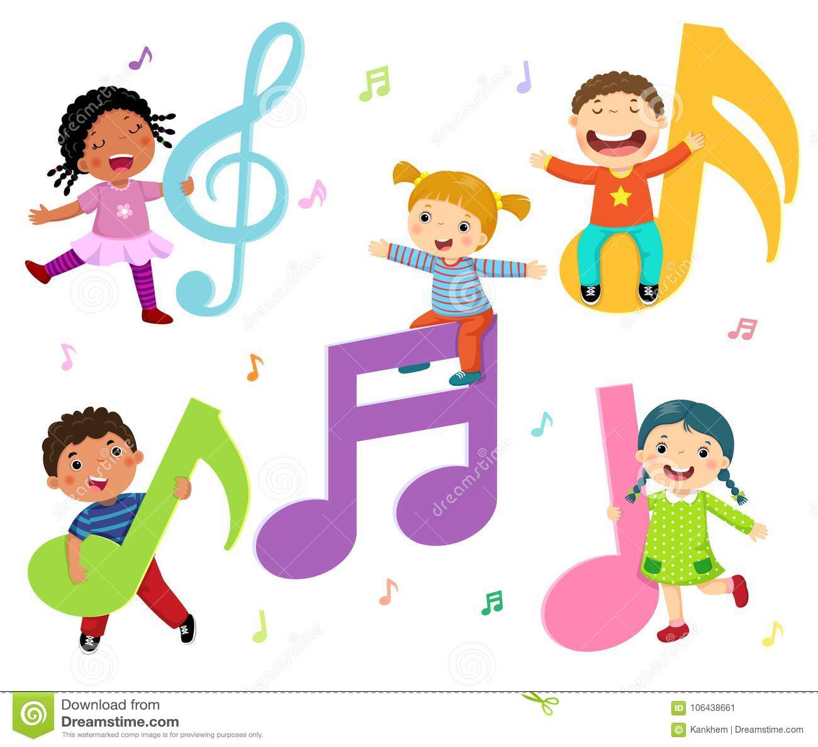 Niños de la historieta con las notas de la música