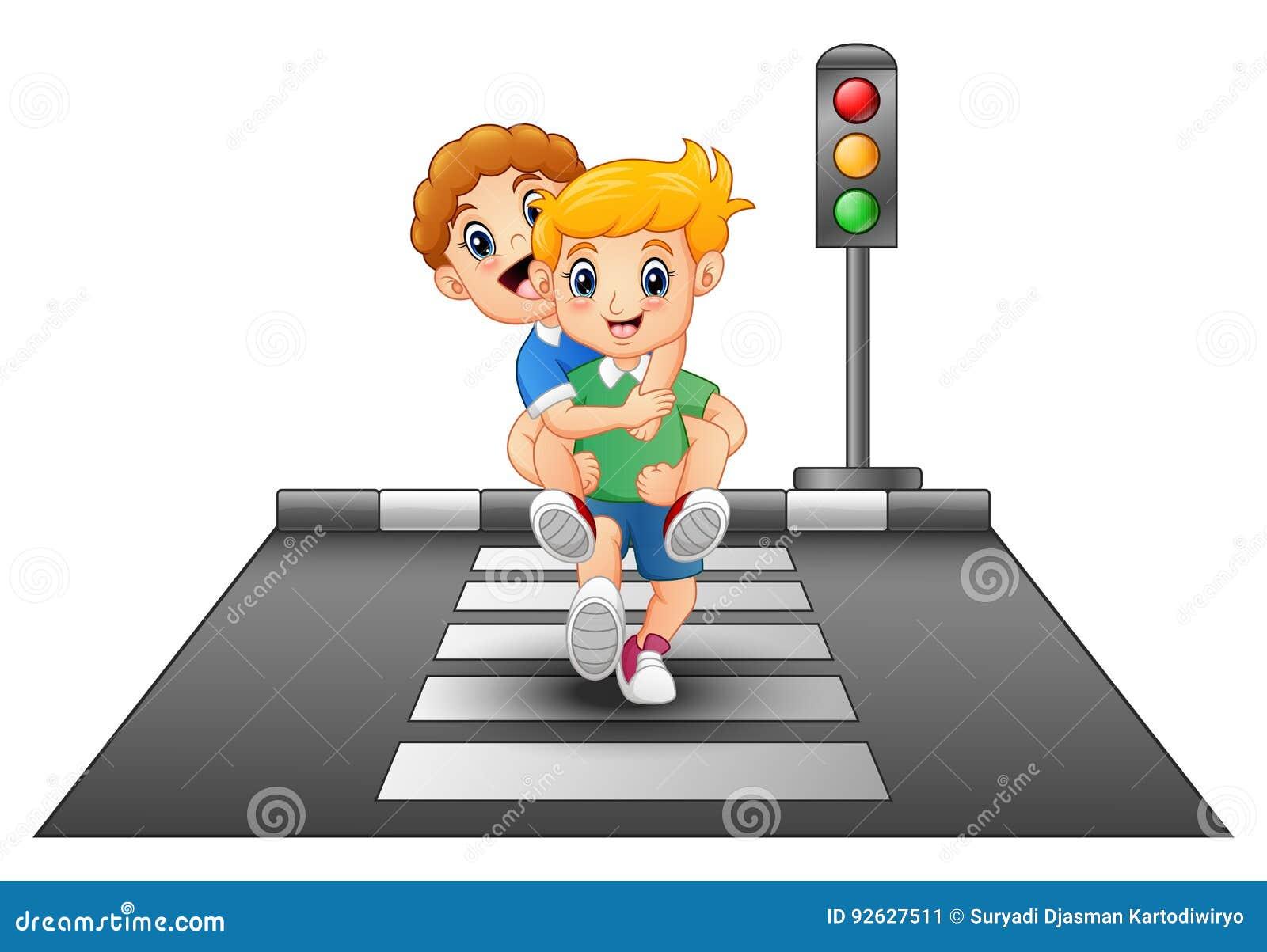Niños de la historieta que corren en cruzar la calle
