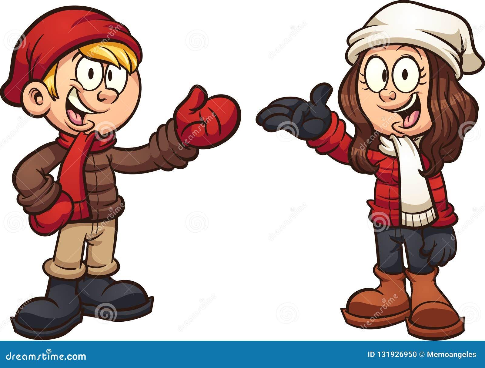 Niños de la historieta que llevan la ropa del invierno