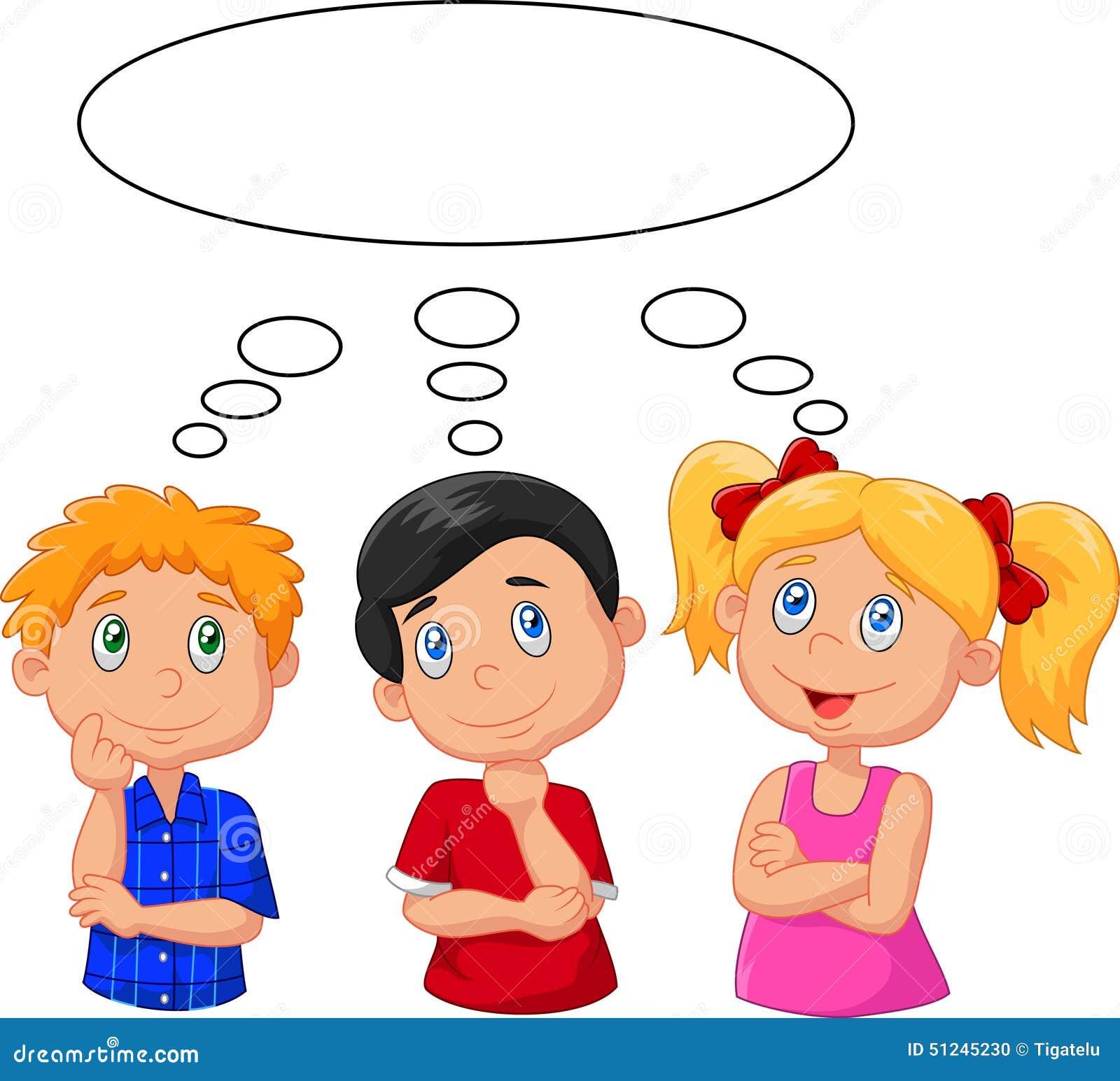 Niños de la historieta que piensan con la burbuja blanca