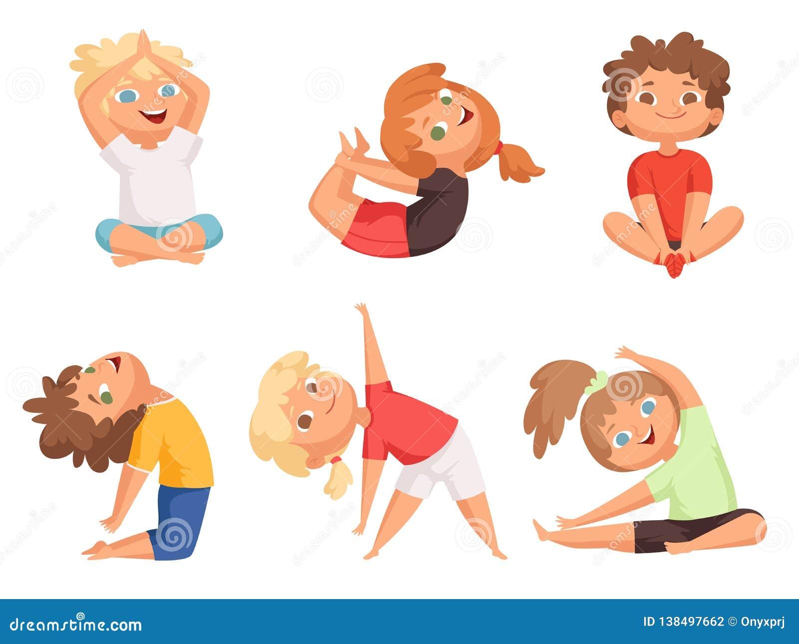 Ninos De La Yoga Ninos Que Hacen Diversos Ejercicios De La Yoga Caracteres Jovenes Del Vector De La Gimnasia Ilustracion Del Vector Ilustracion De Ejercicios Ninos 138497662