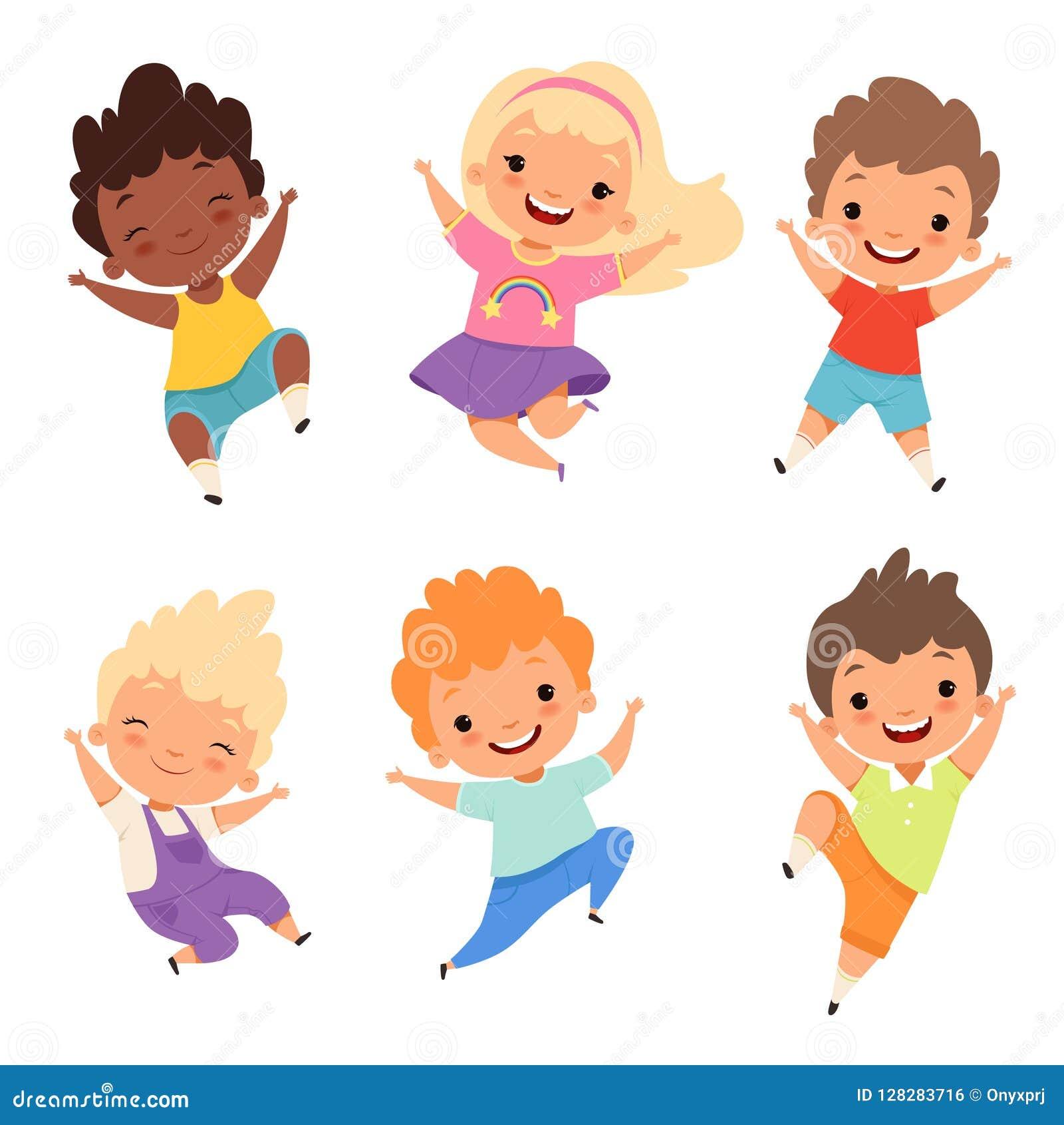 Ninos De Salto Los Alumnos Felices Sonrien Los Muchachos Y Las Muchachas De La Risa Que Juegan Personajes De Dibujos Animados Del Ilustracion Del Vector Ilustracion De Risa Salto 128283716