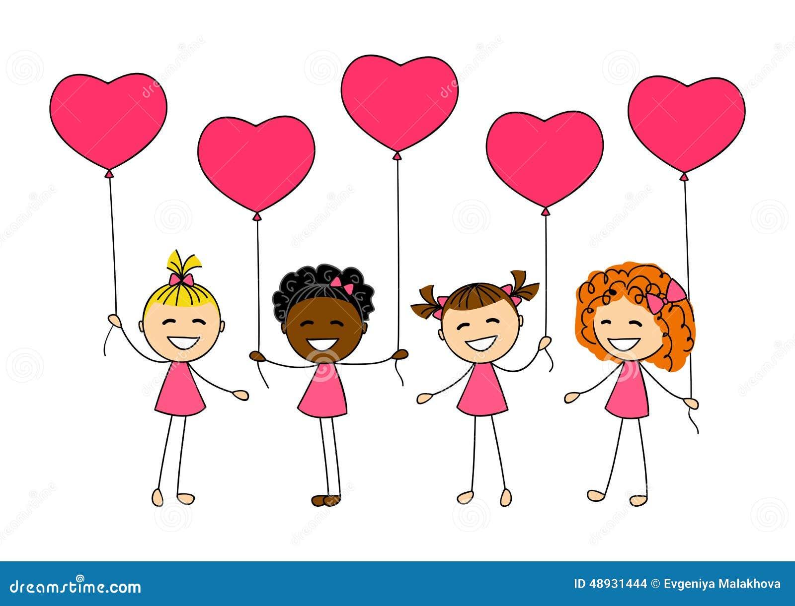Niños Del Día De Tarjetas Del Día De San Valentín Ilustración del ...