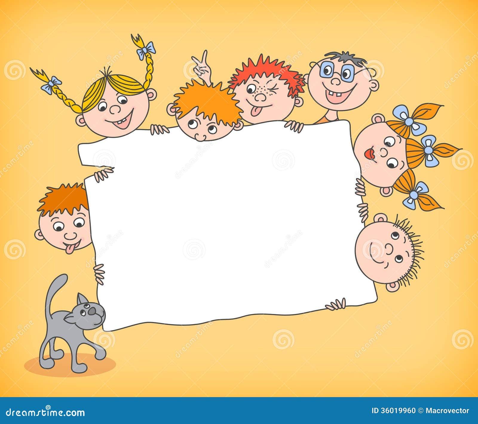 Niños del garabato que llevan a cabo la muestra en blanco