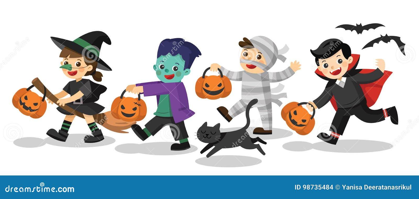 Niños divertidos en trajes coloridos y un gato