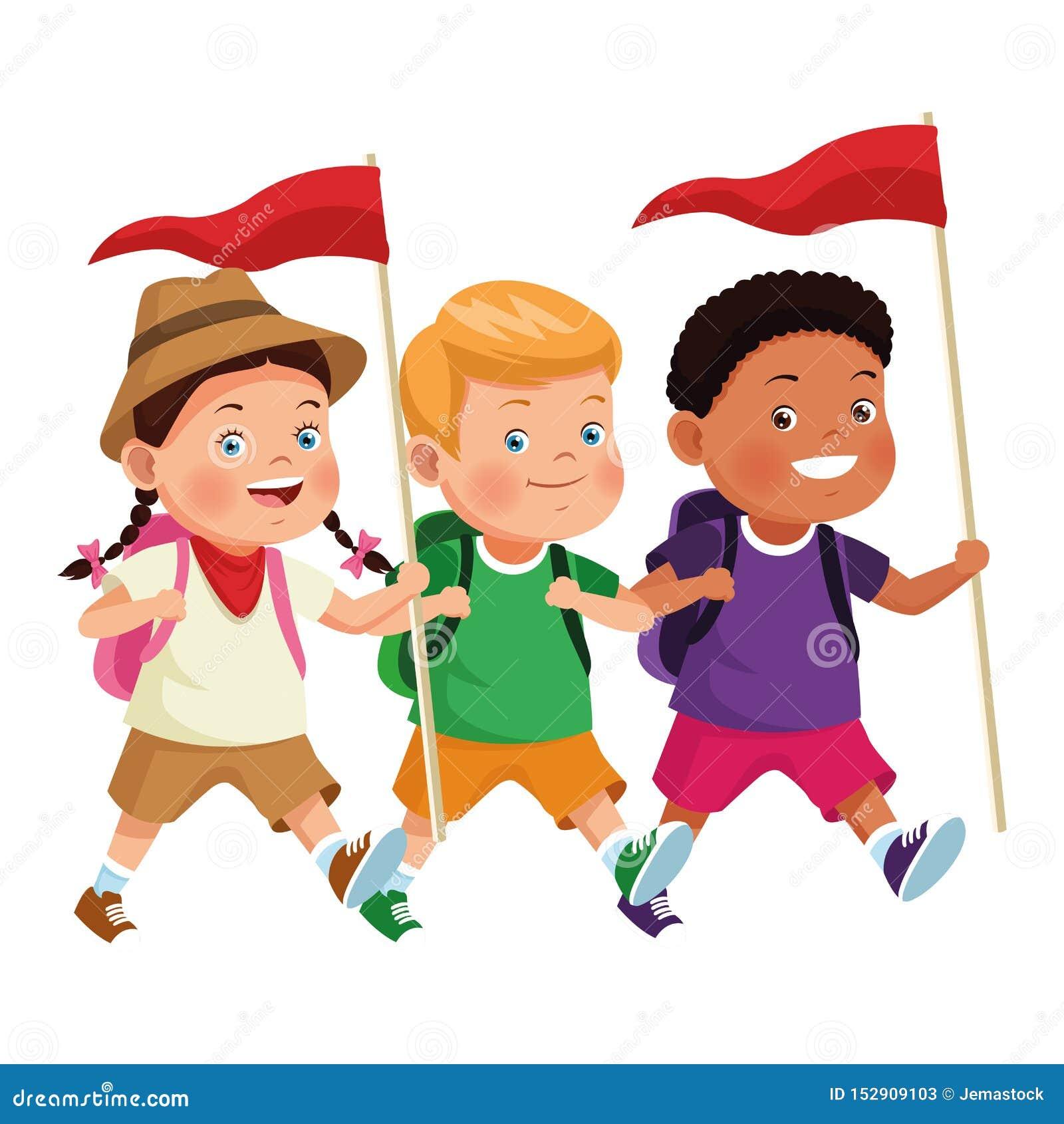 Niños e historietas del campamento de verano