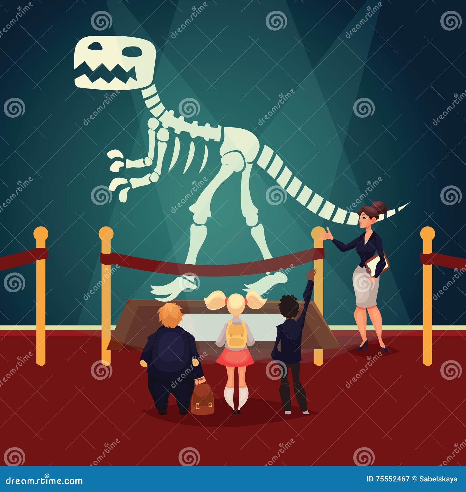 Niños En El Museo Que Mira El Esqueleto Del Dinosaurio Ilustración ...